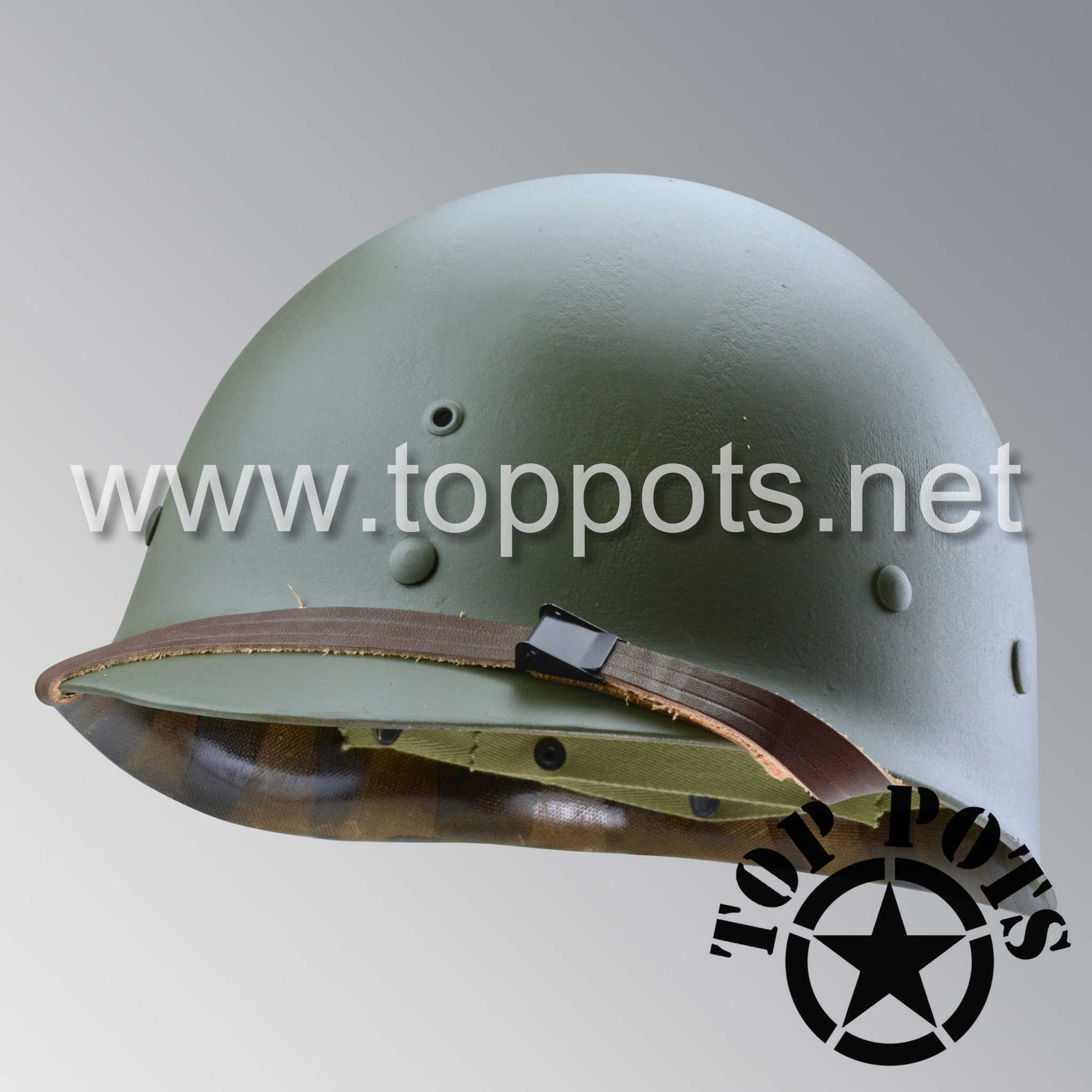 Image 1 of WWII US Army Restored Original M1 Infantry Helmet Liner with Accessories