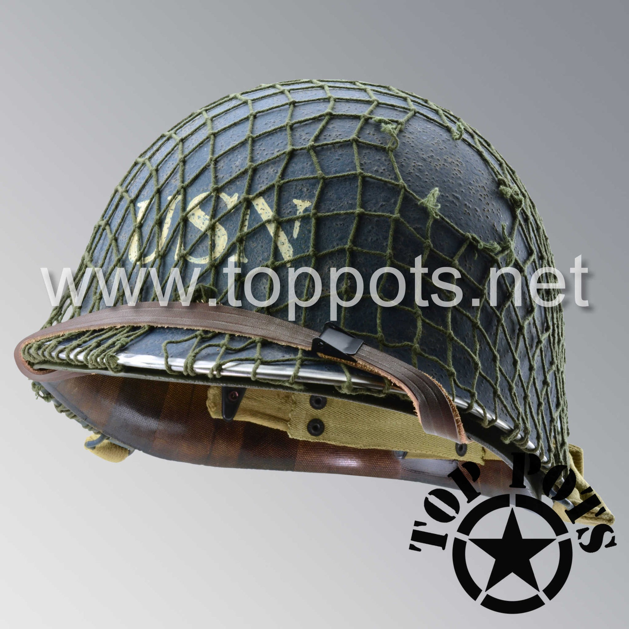 Image 1 of WWII US Aged Original M1 Infantry Helmet Swivel Bale Shell and Liner with USN Navy Emblem