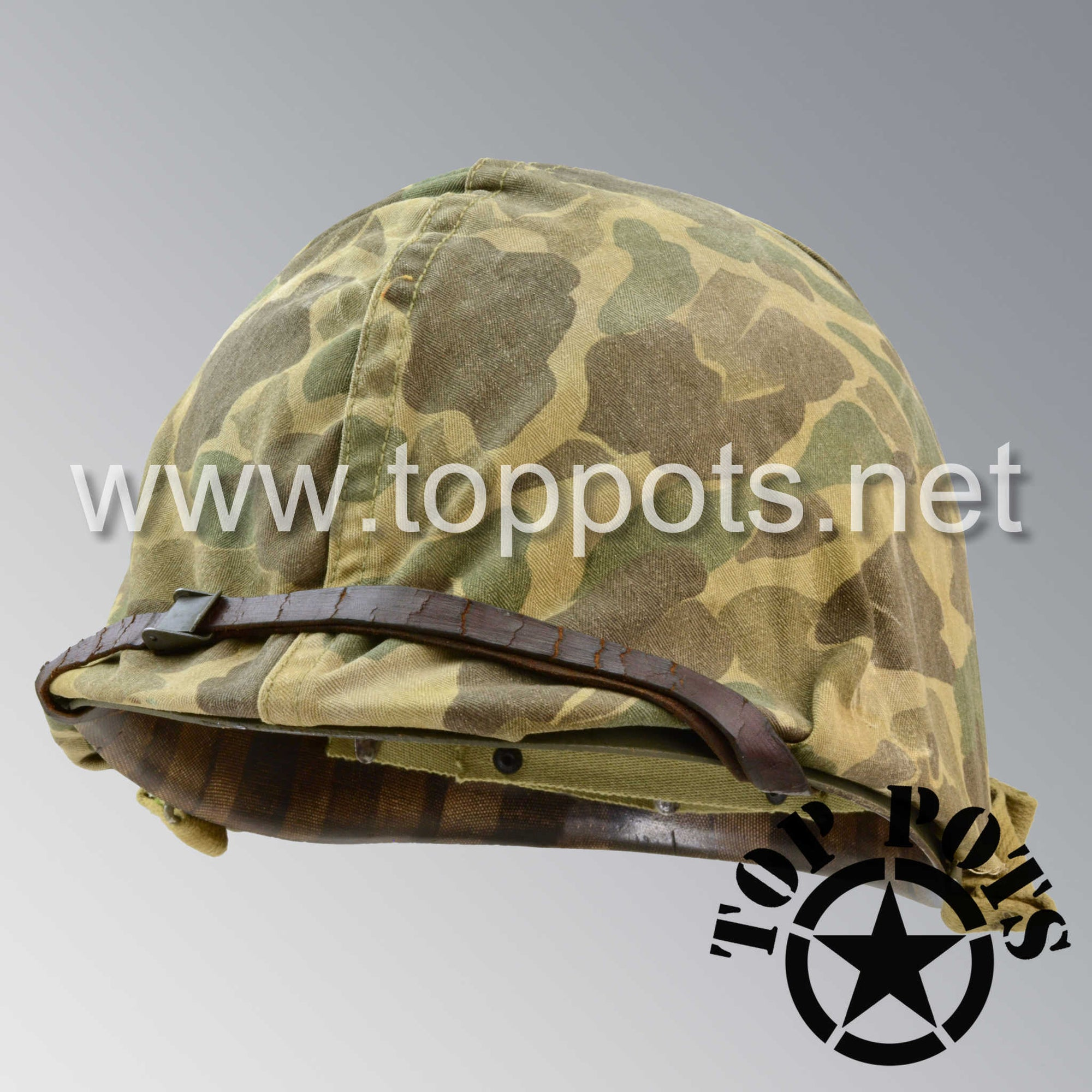 Image 1 of WWII USMC Aged Original M1 Infantry Helmet Fix Bale Shell and Liner with Marine Corps Camouflage Cover