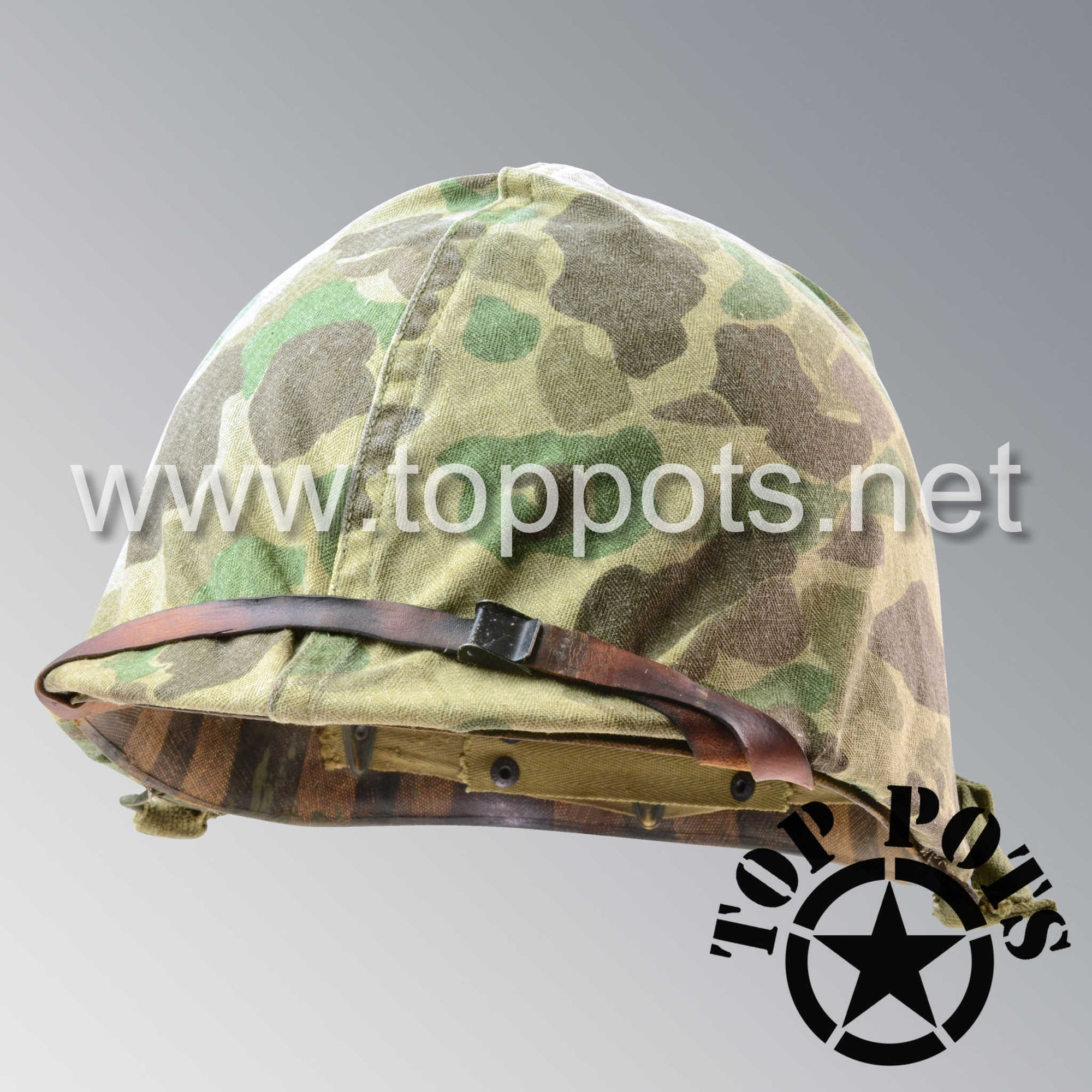 Image 1 of WWII USMC Aged Original M1 Infantry Helmet Swivel Bale Shell and Liner with Marine Corps Camouflage Cover