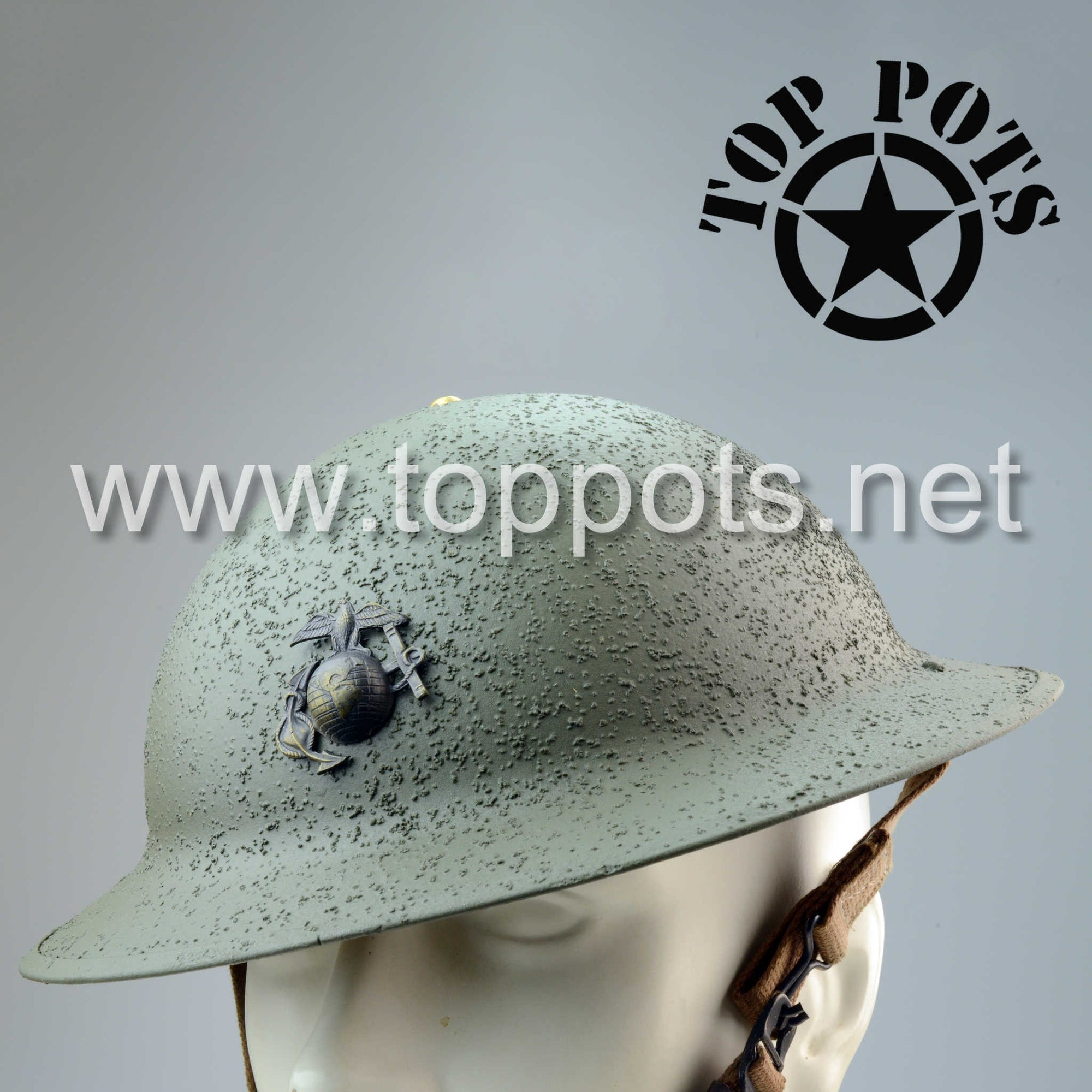 WWII USMC Reproduction Marine Corps M1917 Helmet with Liner and EGA – Textured Finish