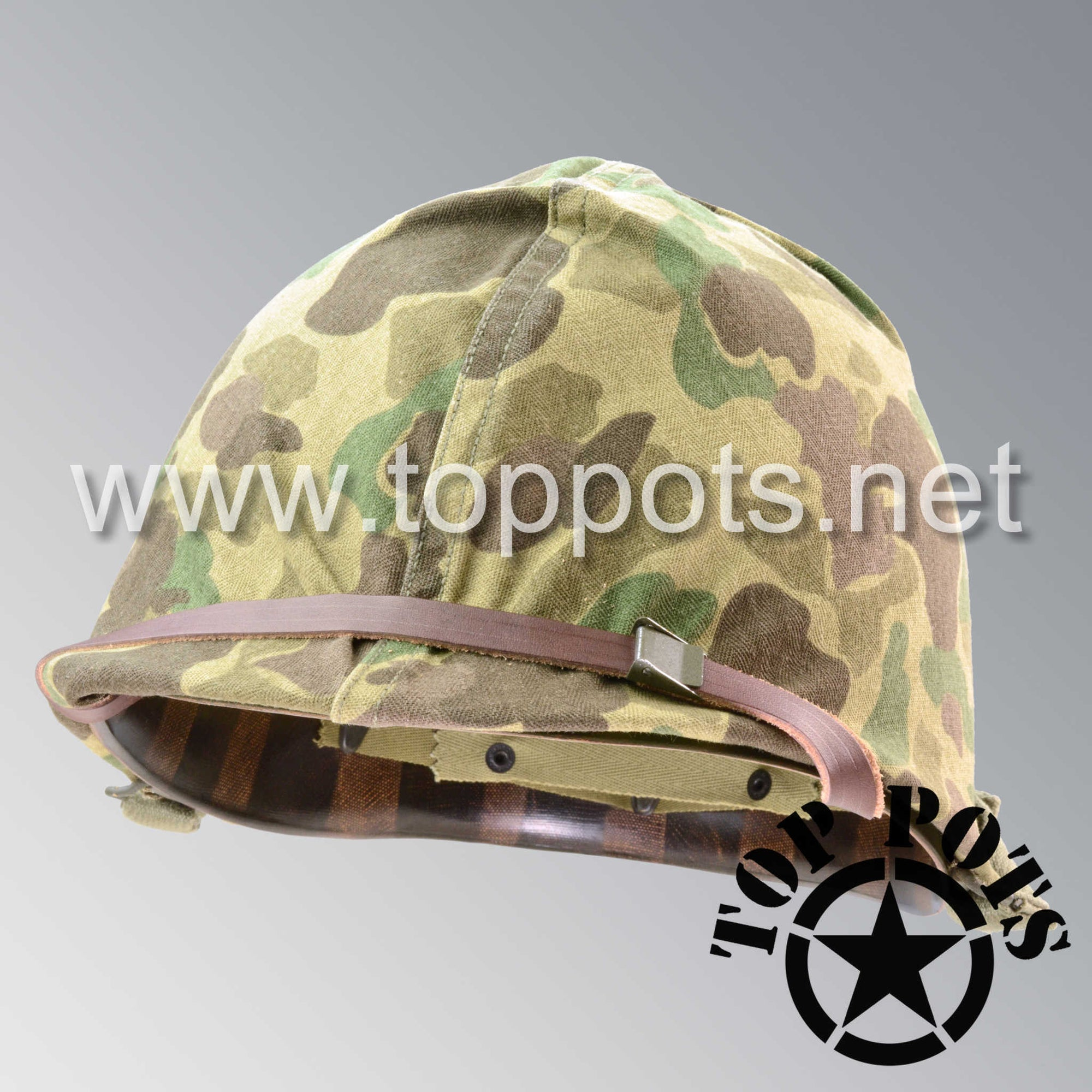Image 2 of WWII USMC Restored Original M1 Infantry Helmet Swivel Bale Shell and Liner with Marine Corps Camouflage Cover