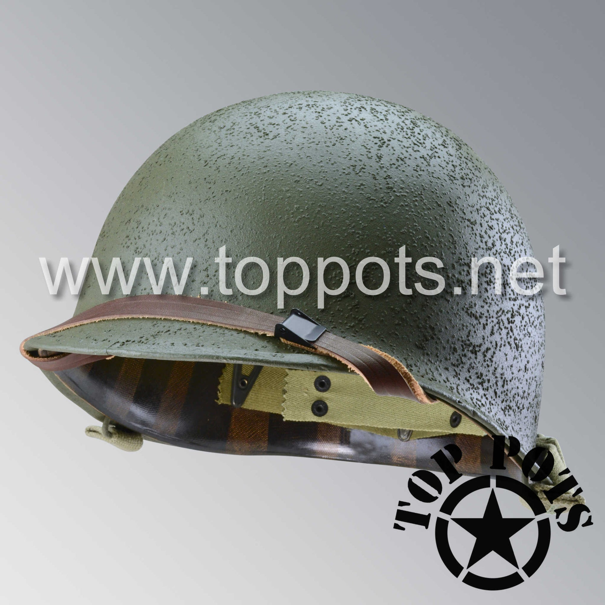Image 1 of WWII USMC Restored Original M1 Infantry Helmet Swivel Bale Shell and Liner with Marine Corps Raider Emblem