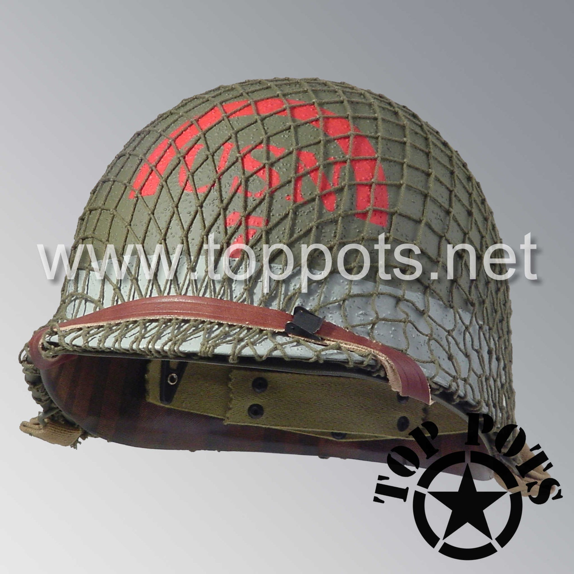 Image 1 of WWII US Navy Restored Original M1 Infantry Helmet Swivel Bale Shell and Liner with 7th Naval Beach Battalion USN Emblem with OD 7 Net