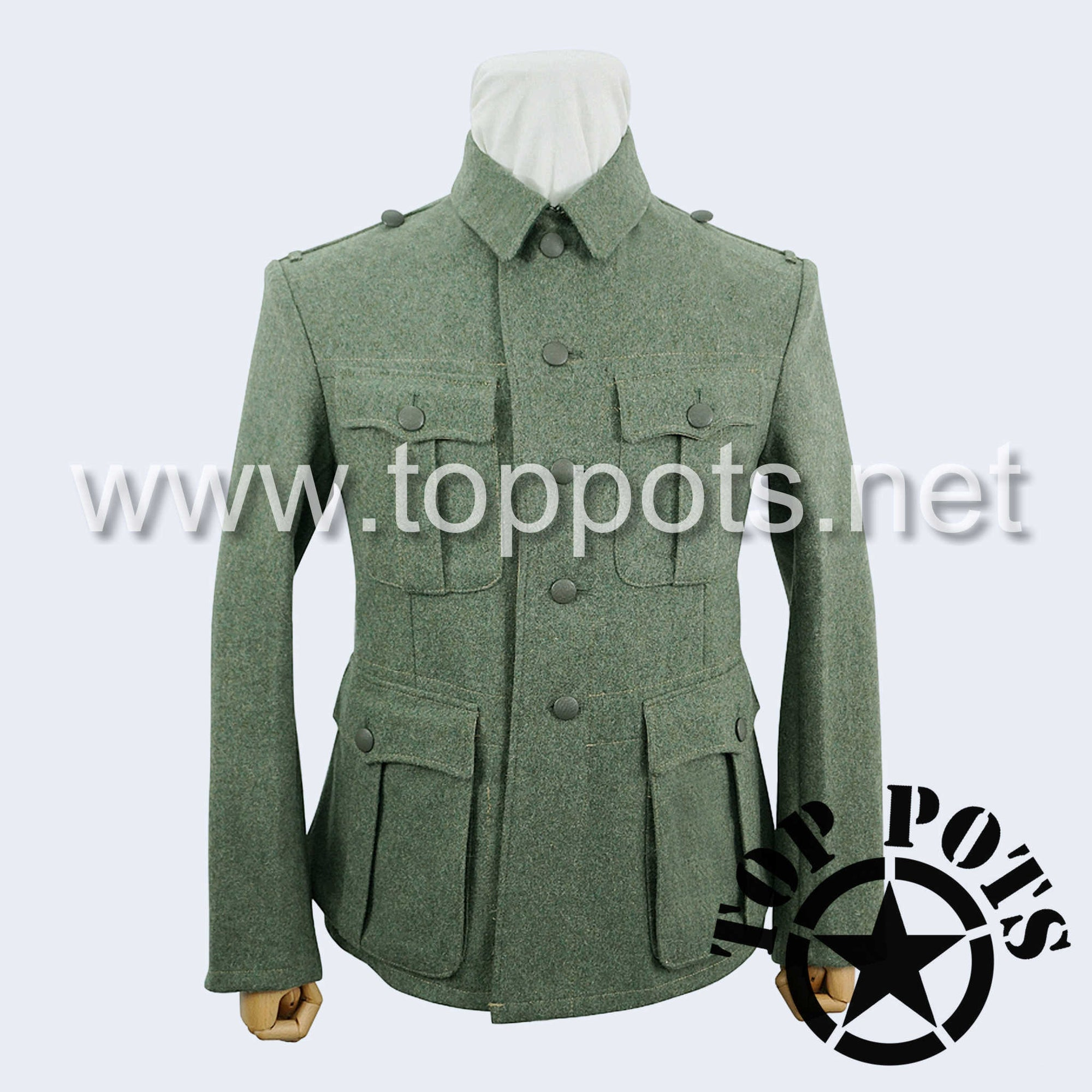WWII German Army M1933 Heer Wehrmacht Enlisted Field Grey Wool Uniform Jacket - 5 Button Tunic (Grey Collar)