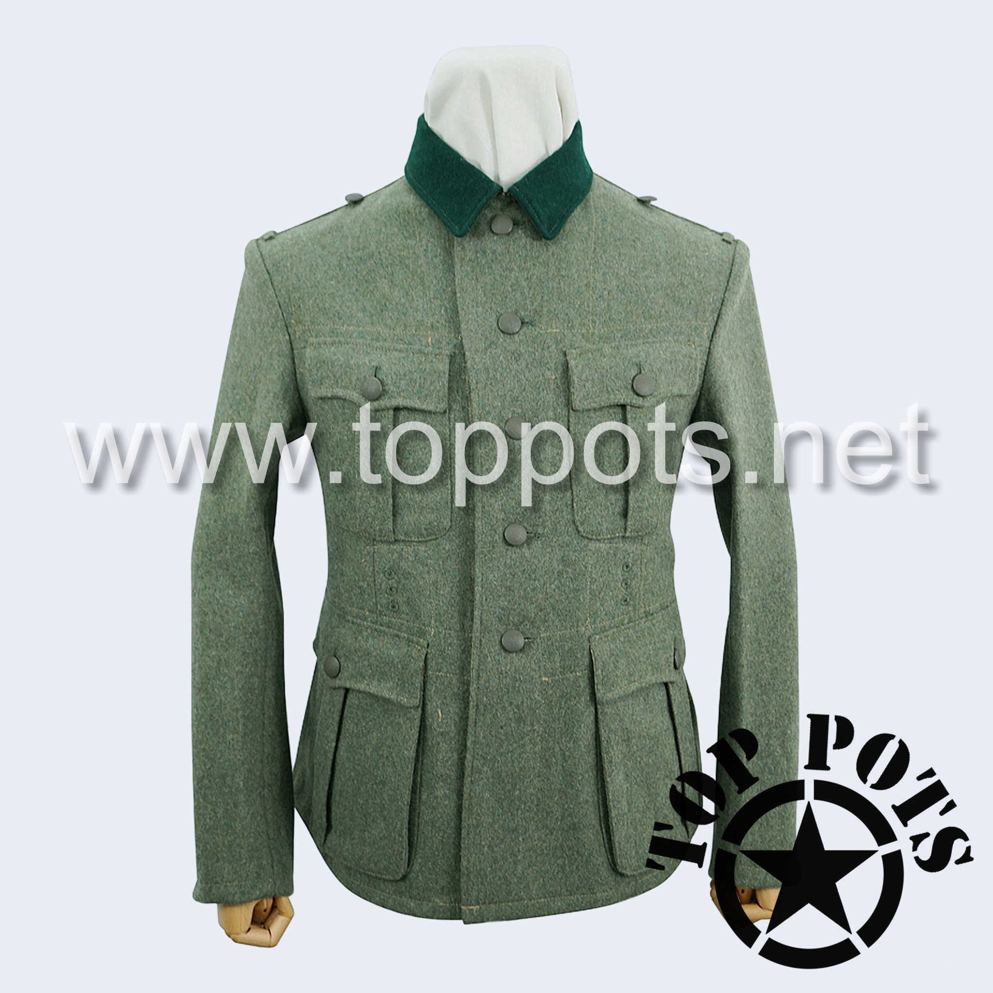 WWII German Army M1934 Heer Wehrmacht Enlisted Field Grey Wool Uniform Jacket - 5 Button Tunic (Bottle Green Collar)