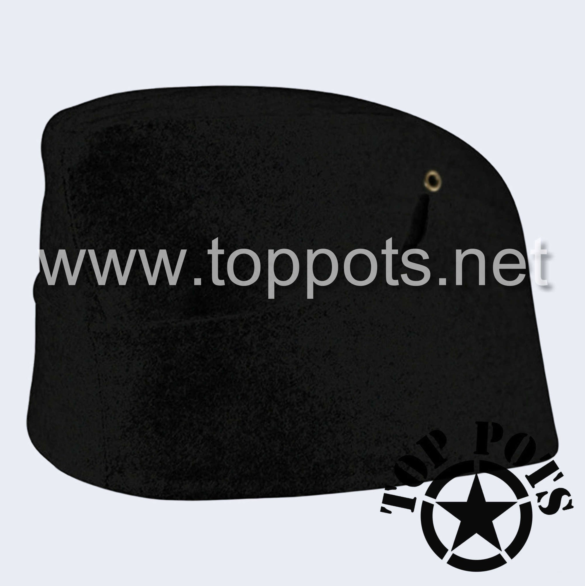 WWII German Army M1938 Heer Wehrmacht Panzer Uniform HBT Summer Cotton Overseas Side Cap Hat Black - Enlisted