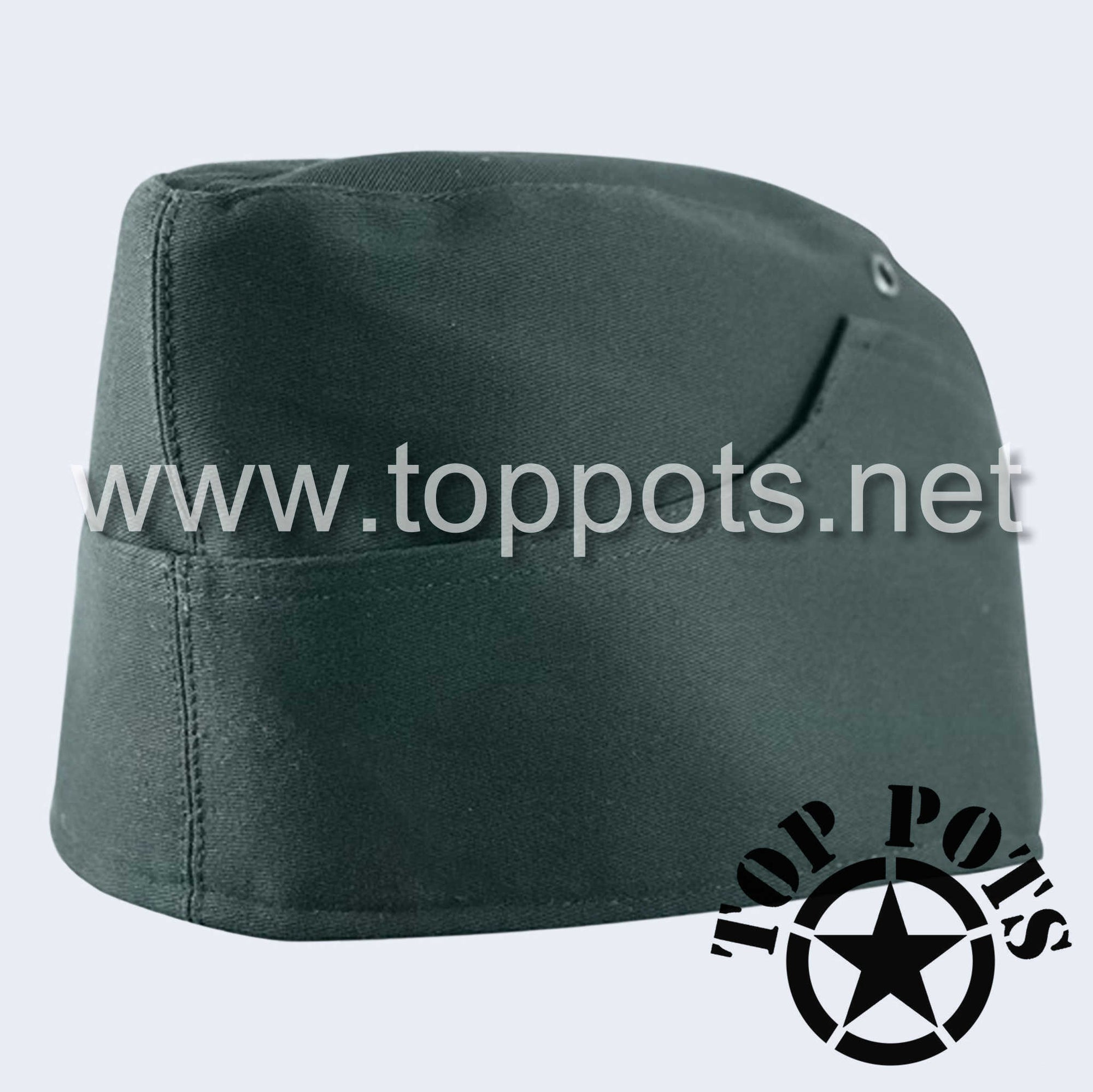 WWII German Army M1938 Waffen SS Uniform Summer HBT Cotton Overseas Side Cap Reed Green - Enlisted