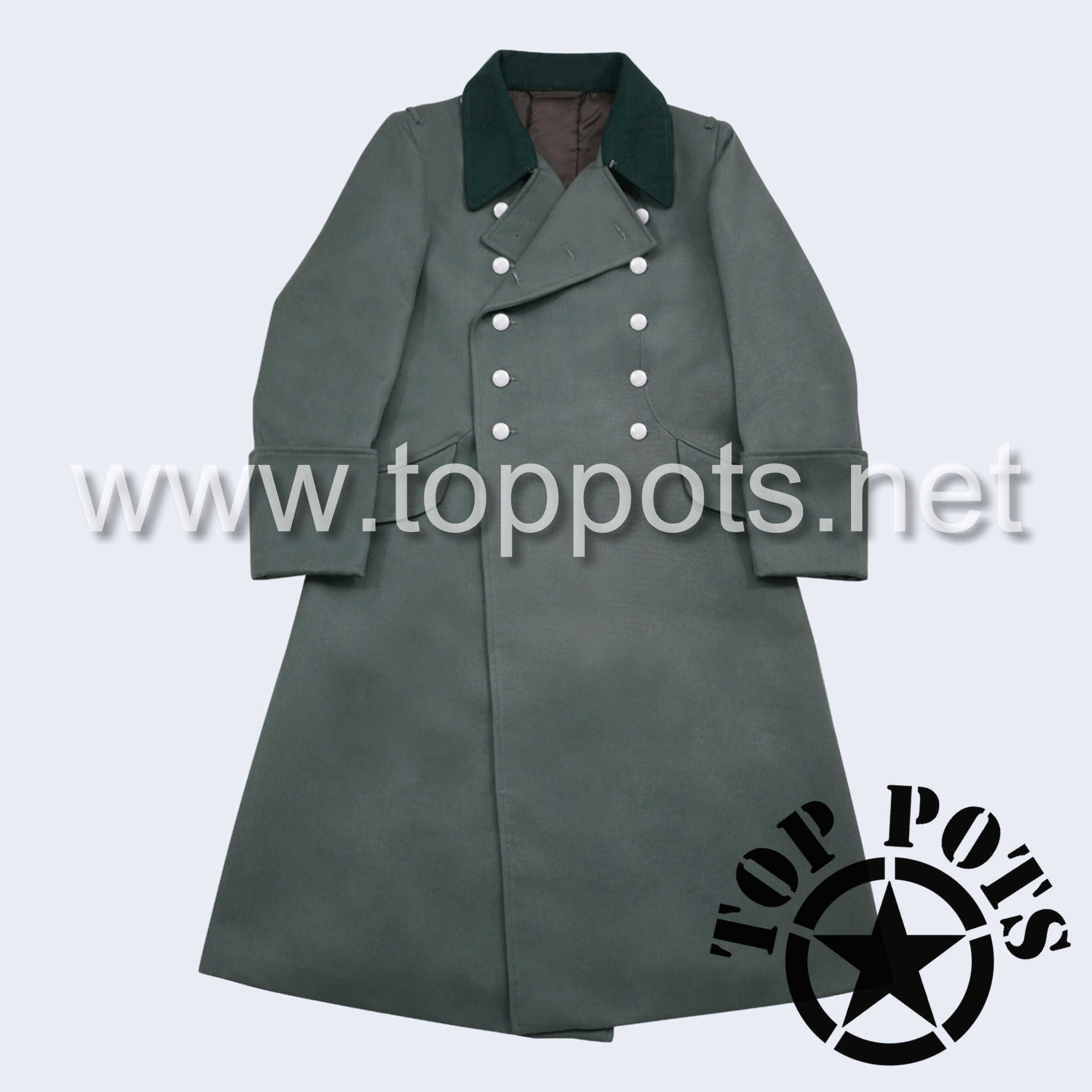 WWII German Army M1940 Waffen SS Uniform Overcoat Greatcoat Winter Jacket Field Grey Gabardine - Officer