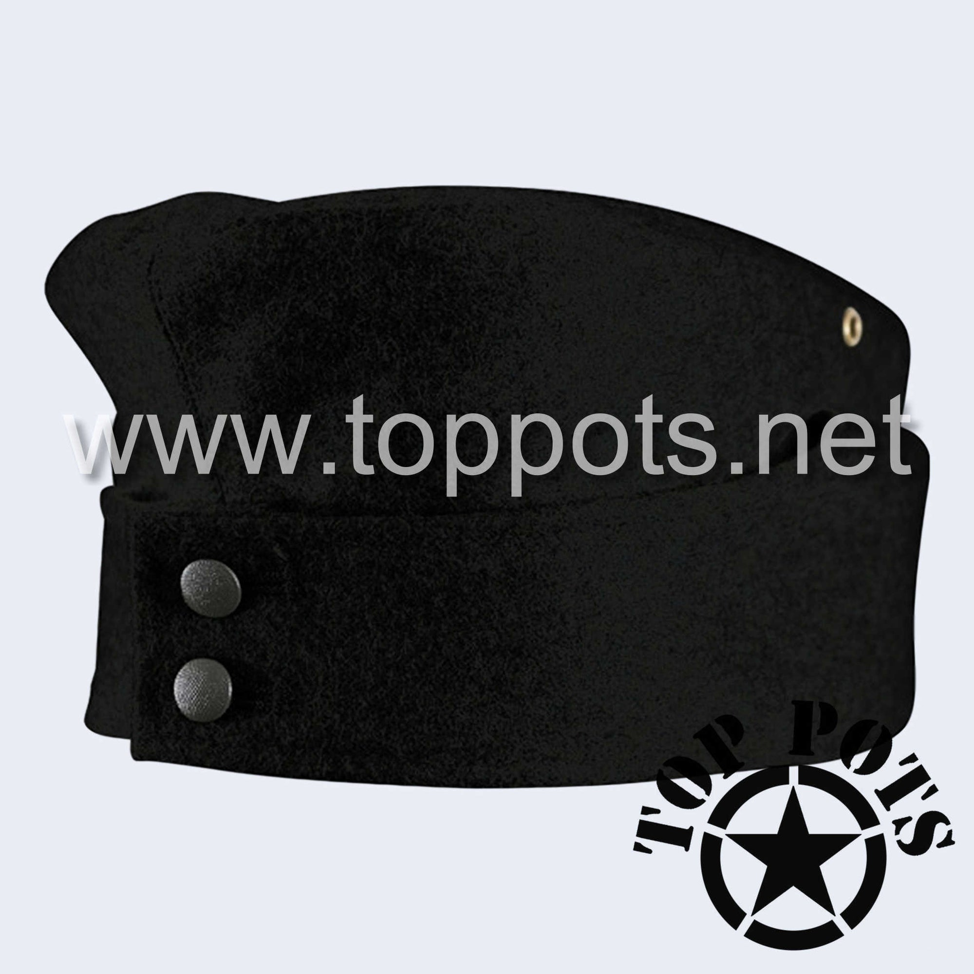 WWII German Army M1942 Heer Wehrmacht Panzer Uniform HBT Summer Cotton Overseas Side Cap Hat Black - Enlisted