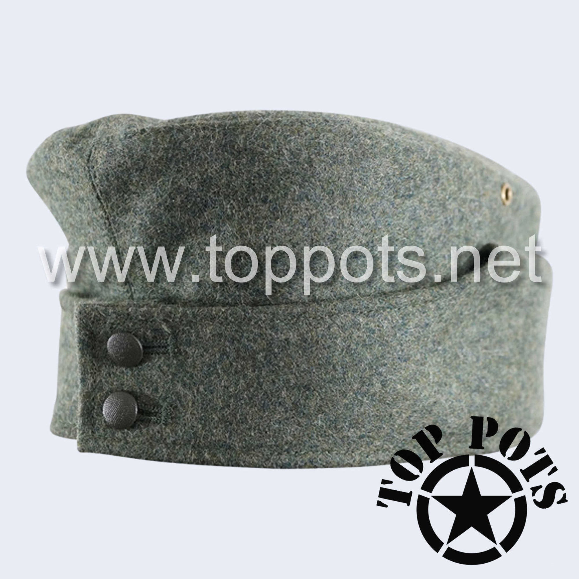 WWII German Army M1942 Heer Wehrmacht Panzer Uniform HBT Summer Cotton Overseas Side Cap Hat Field Grey - Enlisted