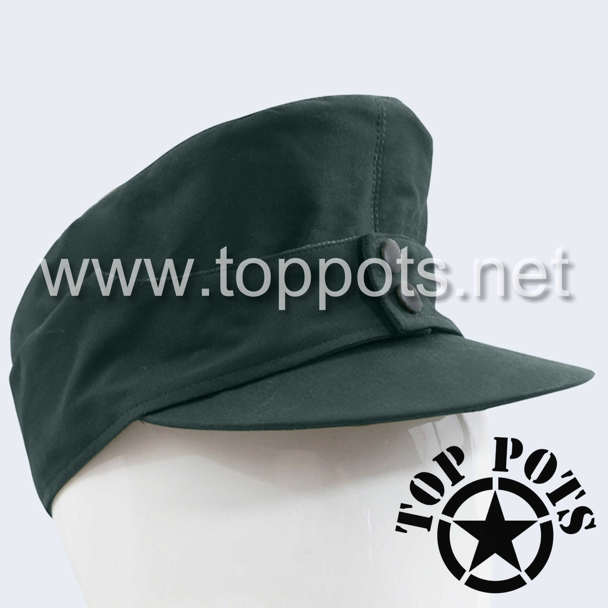 WWII German Army M1943 Waffen SS Panzer Uniform Summer HBT Cotton Field Cap Reed Green - Enlisted