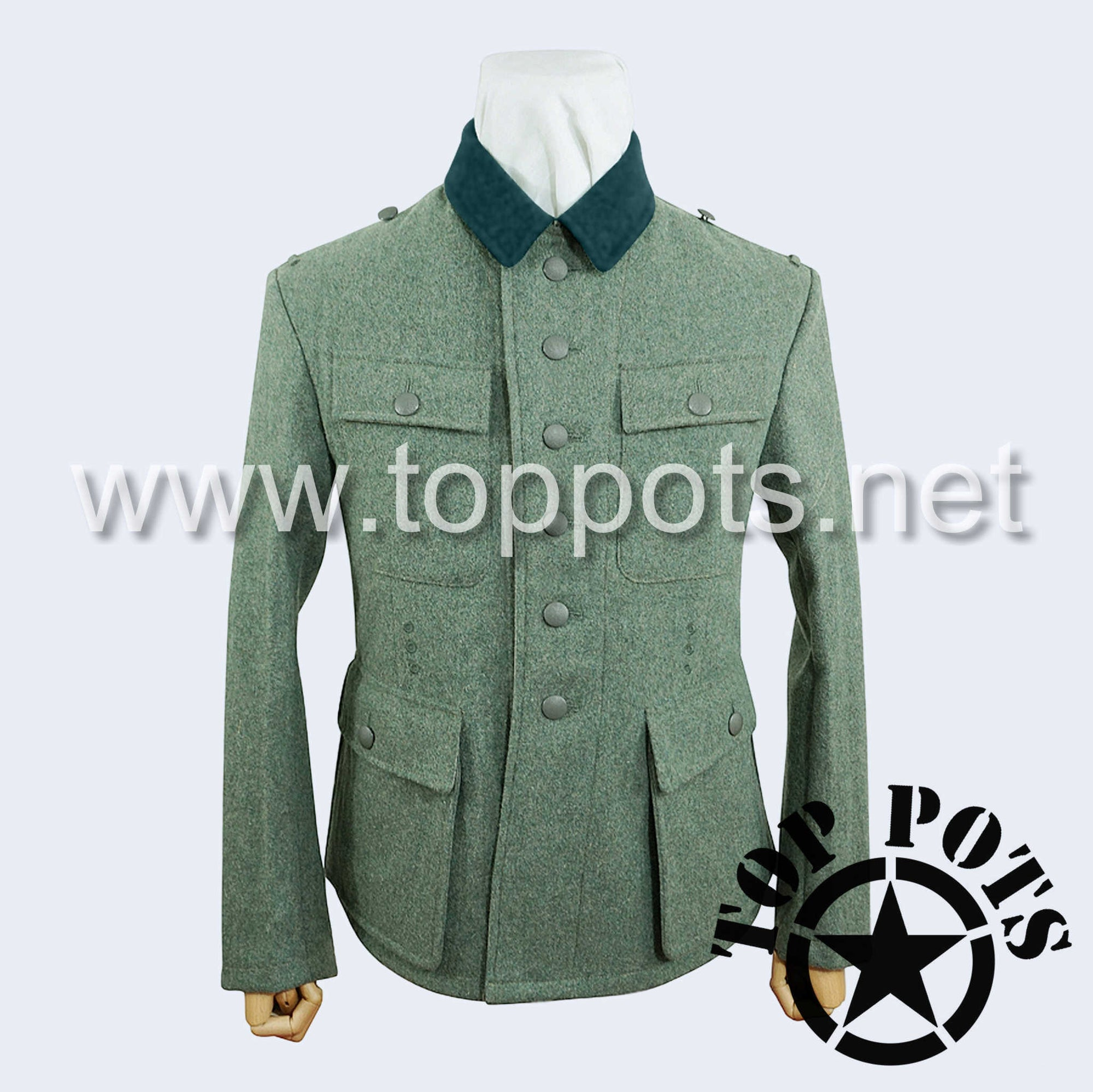 WWII German Army M1943 Heer Wehrmacht Enlisted Field Grey Wool Uniform Jacket - 6 Button Tunic (Modified Bottle Green Collar)