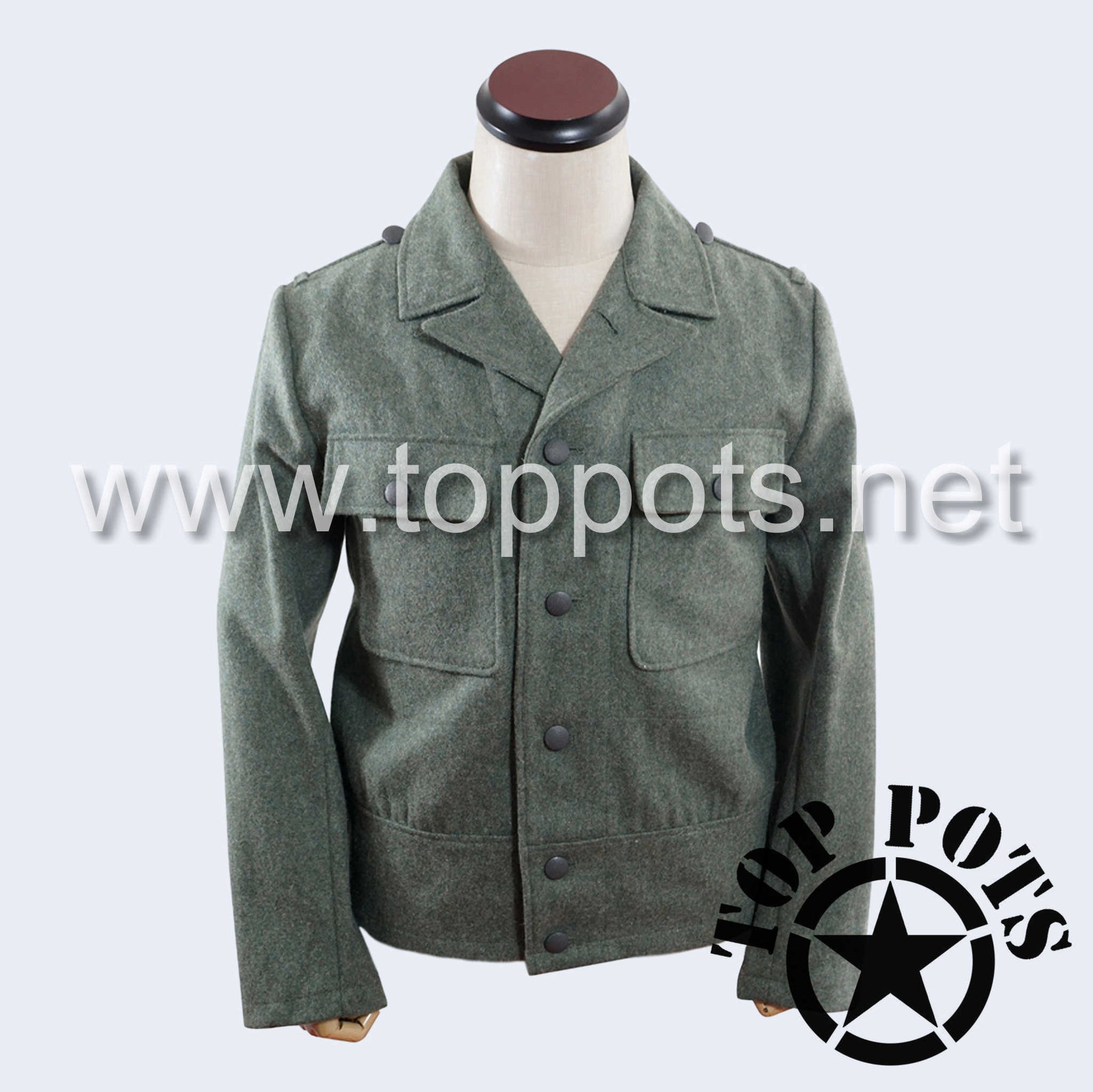 WWII German Army M1944 Heer Wehrmacht Enlisted Field Grey Wool Uniform Jacket - 6 Button Tunic