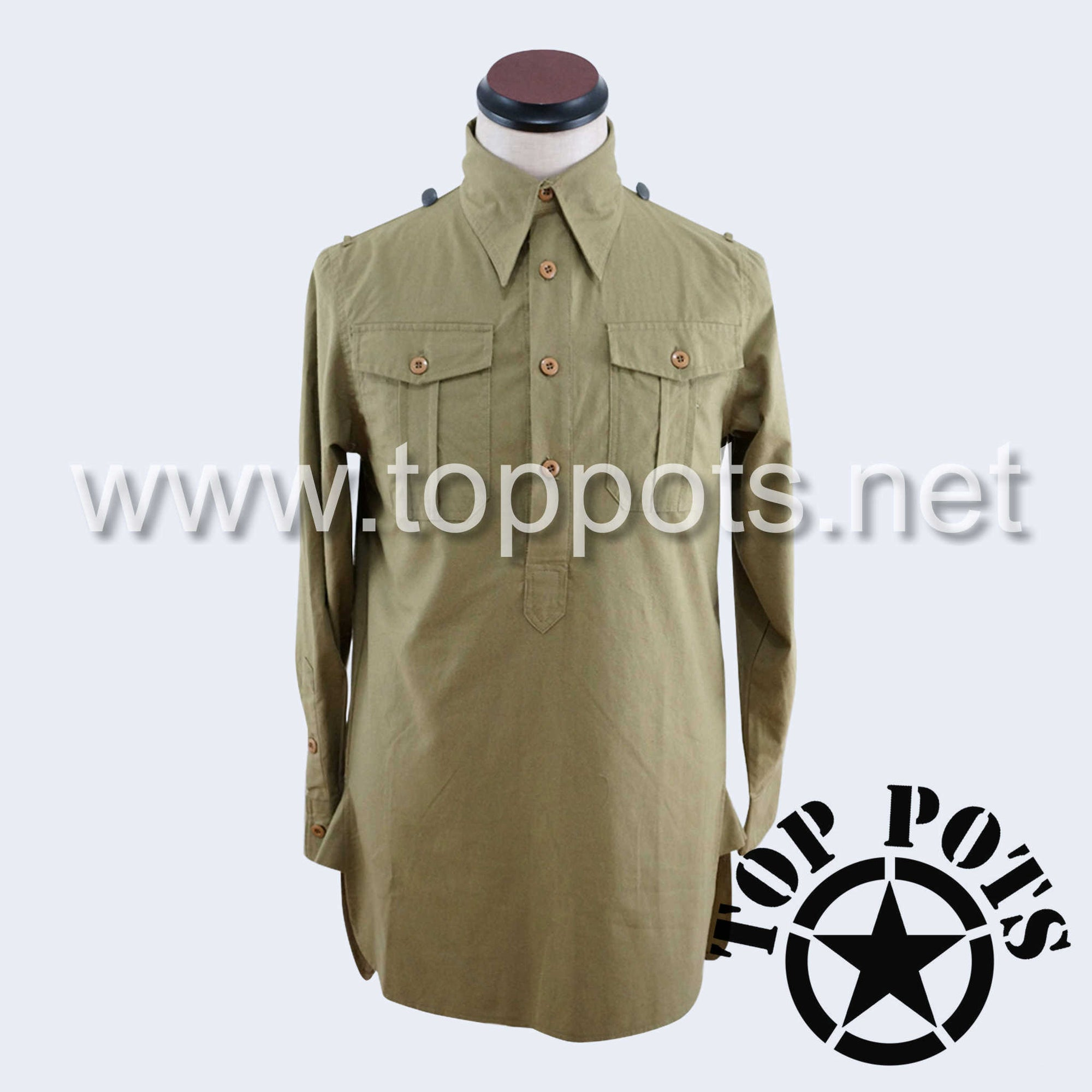 WWII German Army Waffen SS Uniform Long Sleeve Service Shirt - Mediterranean Tropical Sand Khaki Tan