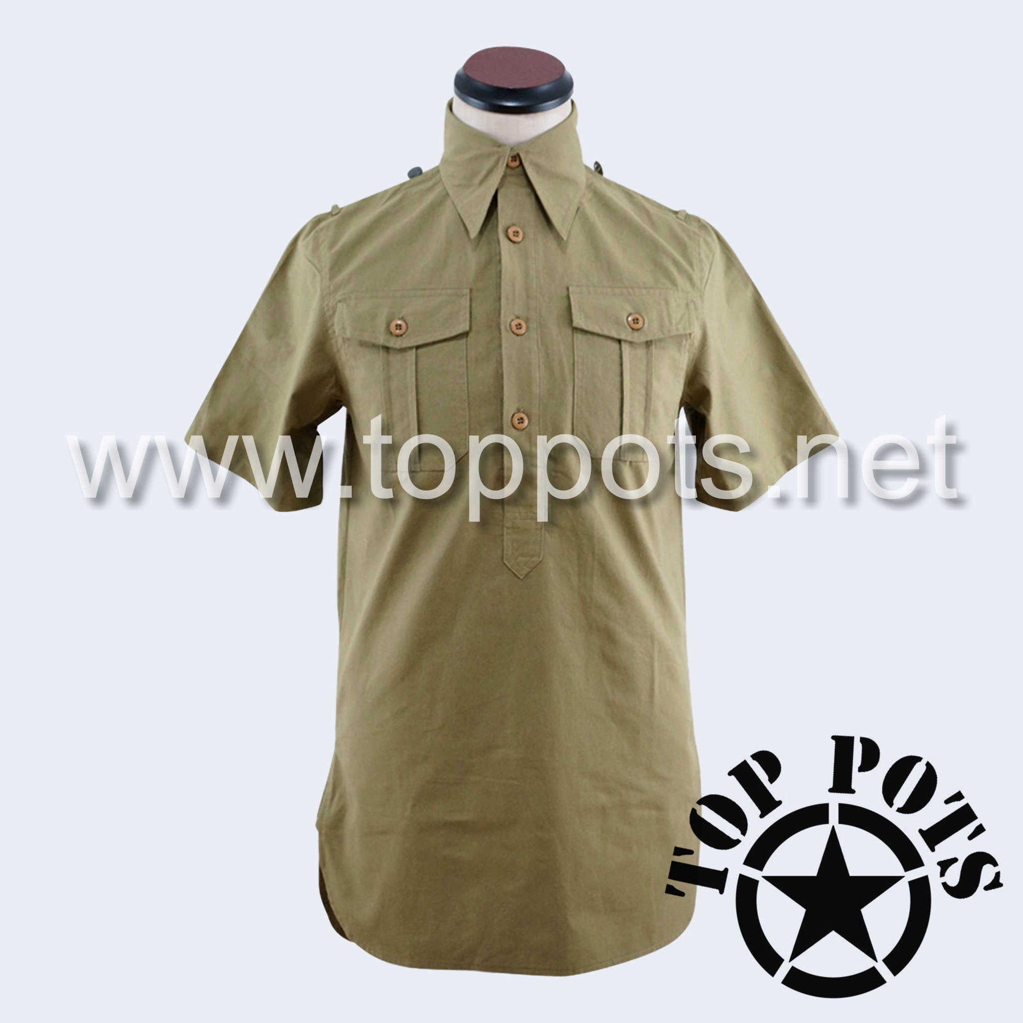 WWII German Army Waffen SS Uniform Short Sleeve Service Shirt - Mediterranean Tropical Sand Khaki Tan