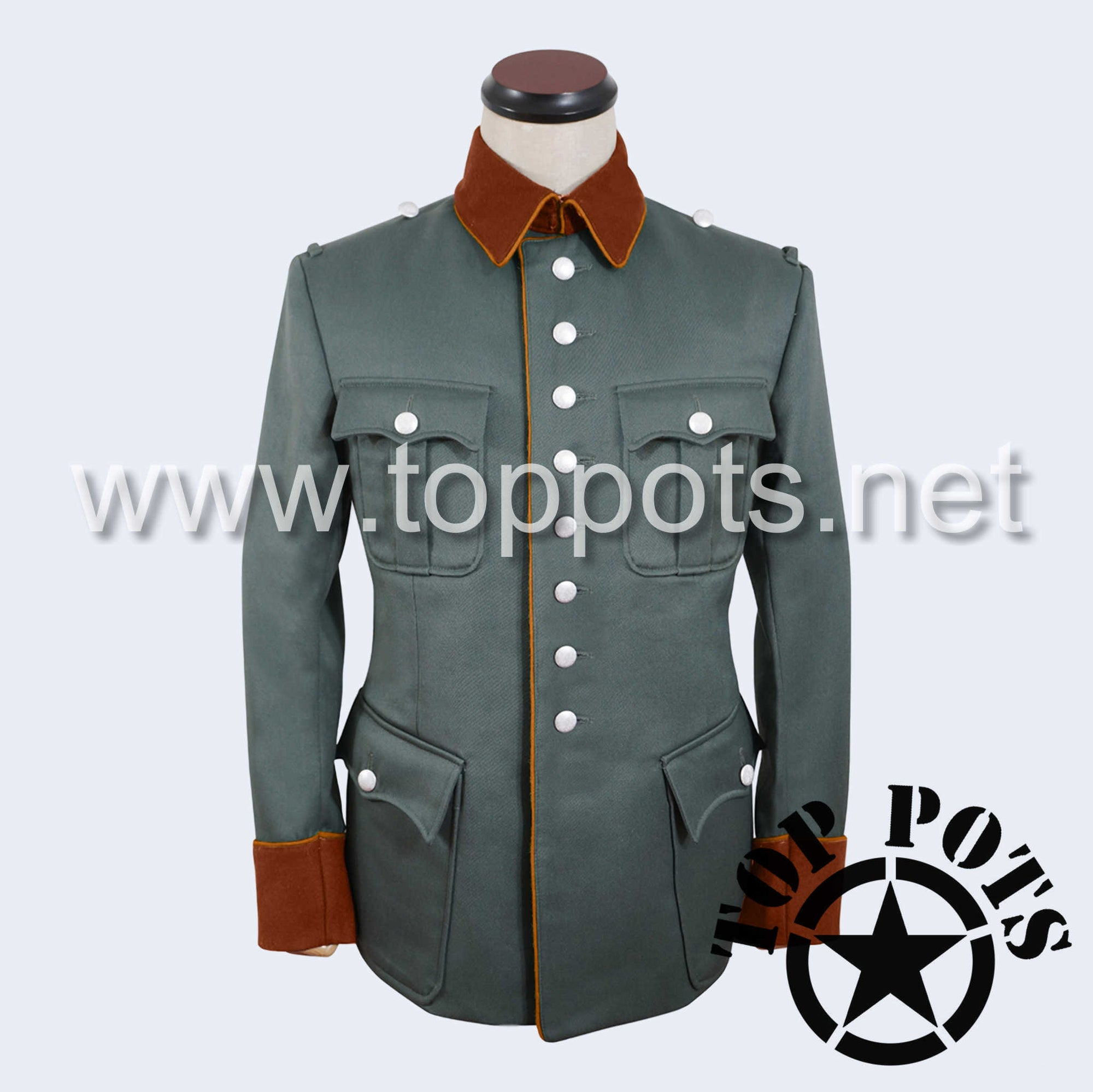 WWII German Army Heer Wehrmacht Officer Uniform Jacket Field Grey Gabardine - Field Police Tunic (8 Buttons)