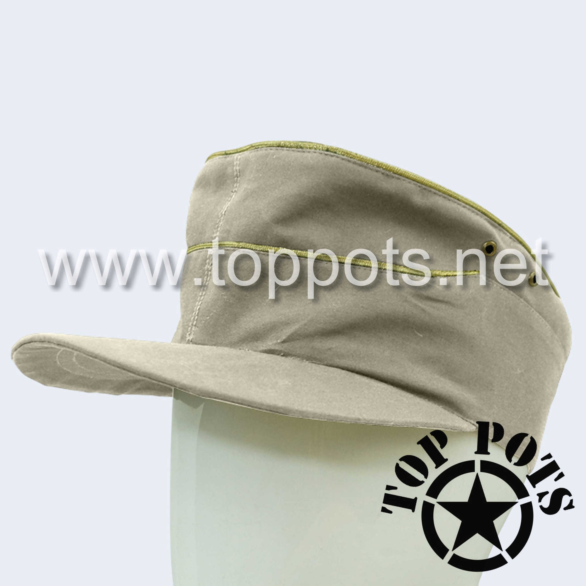 WWII German Army Heer Wehrmacht Officer Uniform Summer Field Cap HBT Cotton Off-White - General