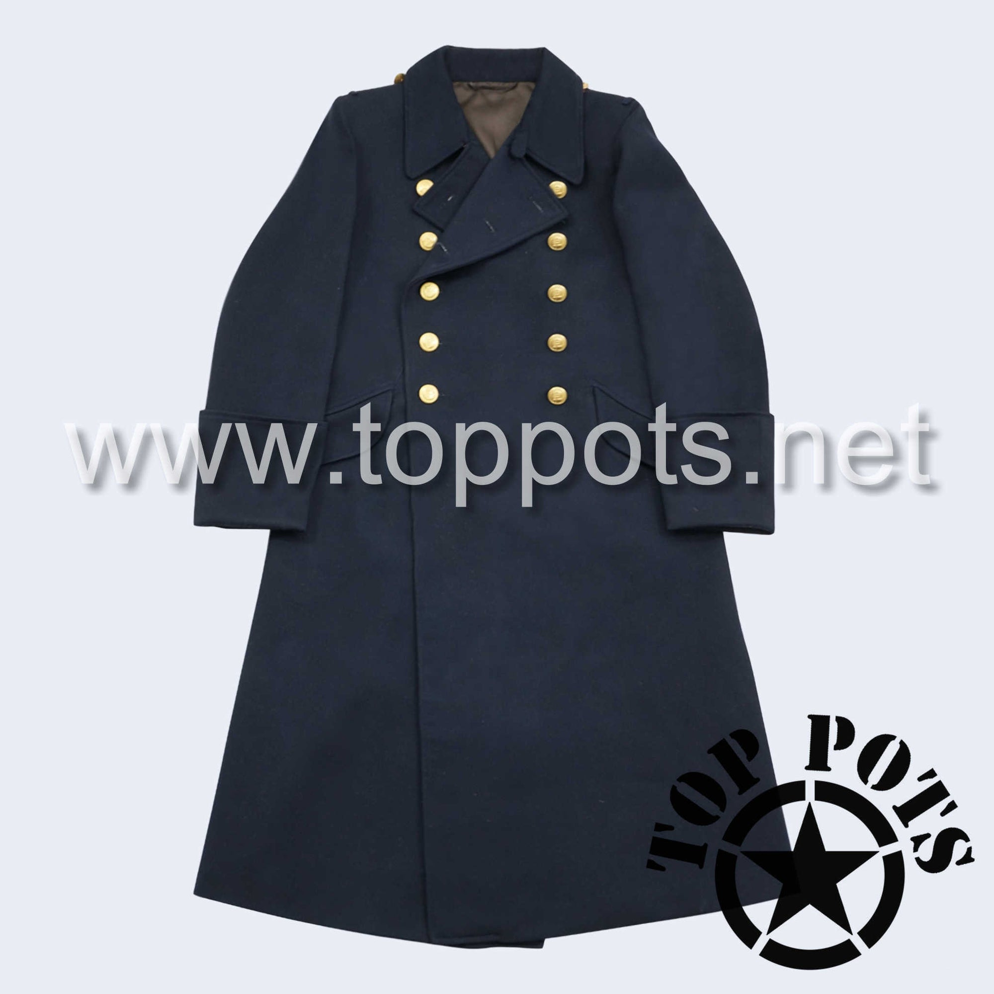 WWII German Navy Kriegsmarine Uniform Overcoat Greatcoat Winter Jacket Navy Blue Gabardine - Officer