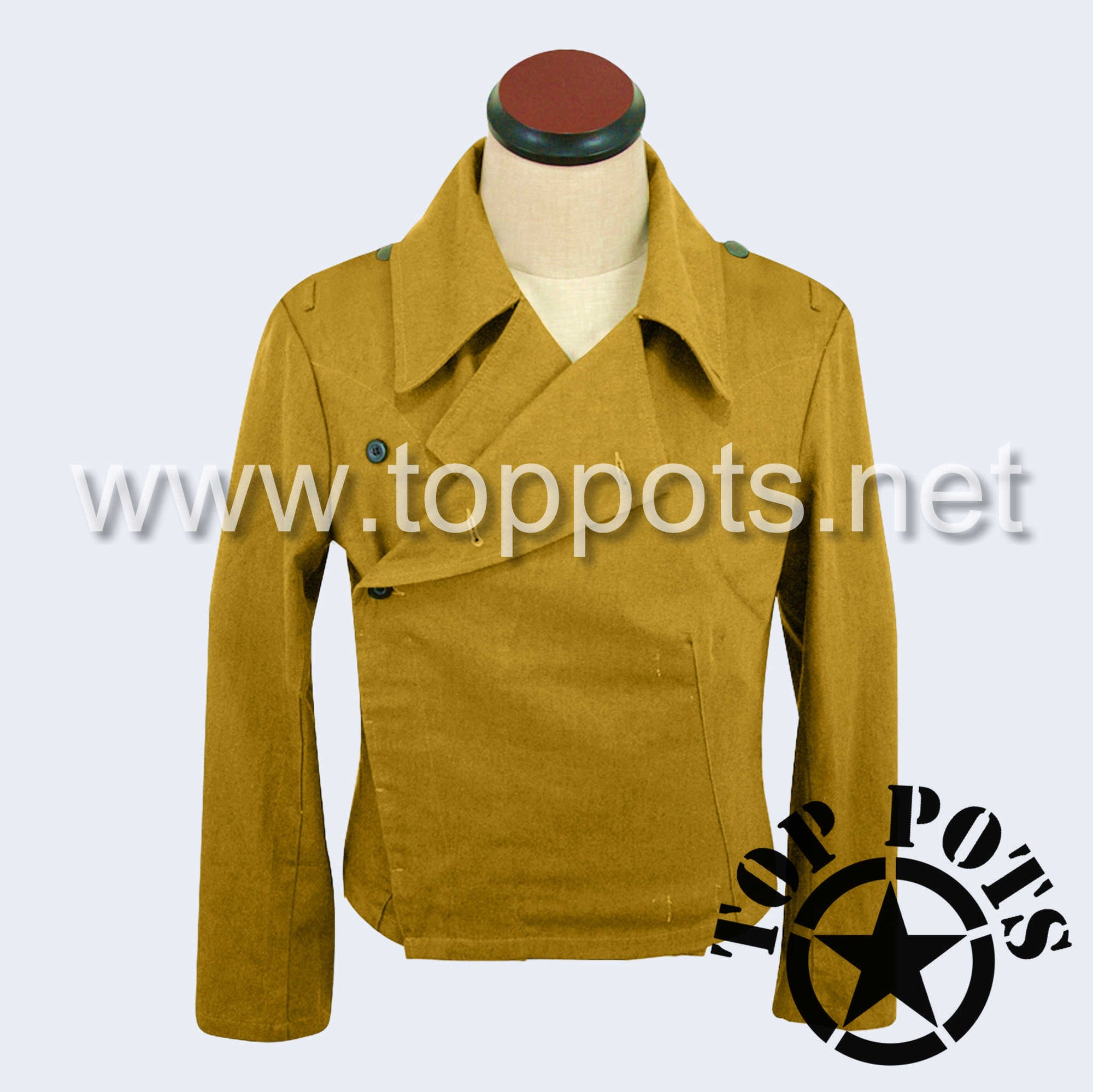 WWII German Luftwaffe DAK Afrika Korps Tropical Enlisted Uniform Panzer Wrap Jacket - Sand Khaki