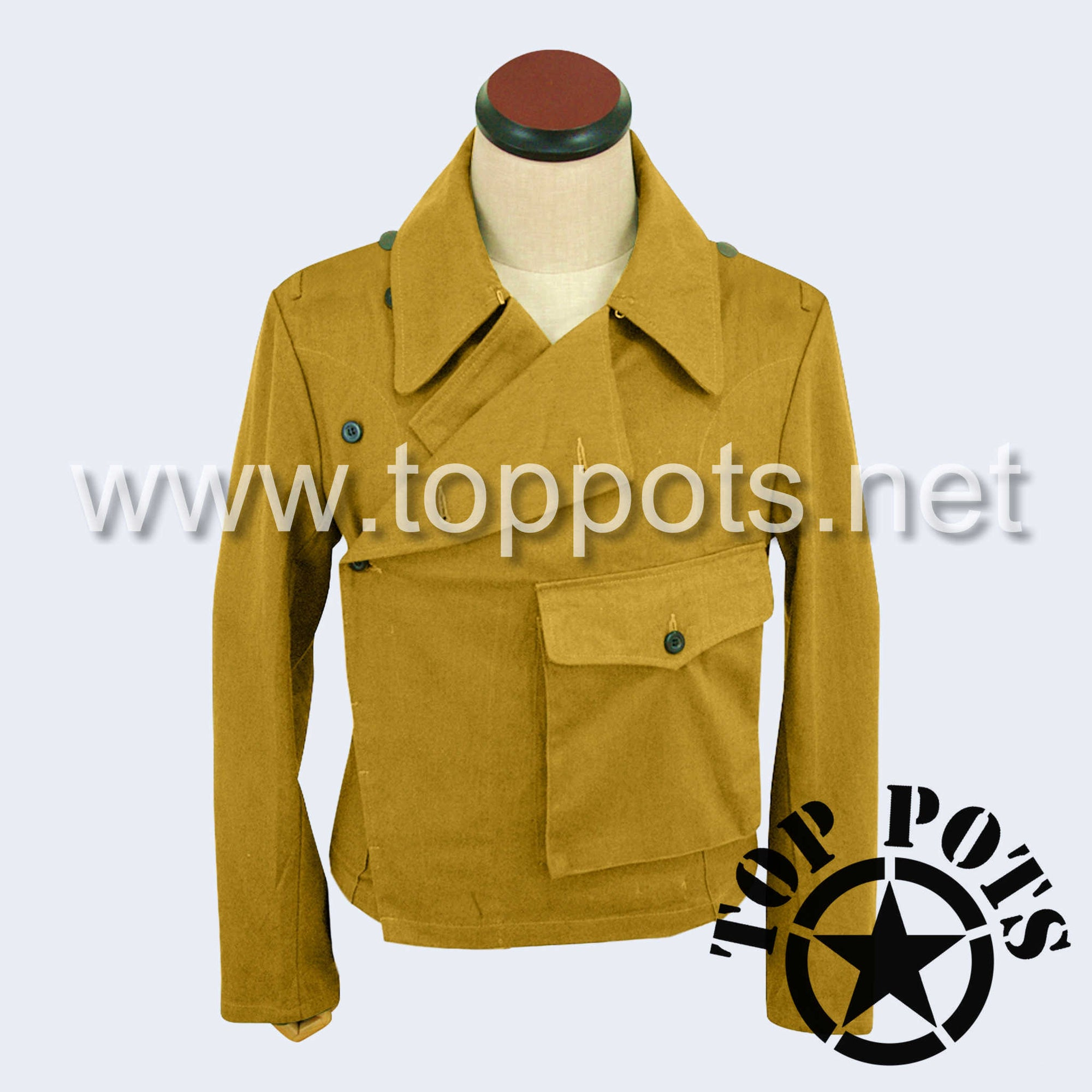 WWII German Luftwaffe DAK Afrika Korps Tropical Enlisted Uniform Panzer Wrap Jacket - Sand Khaki (Patch Pocket)