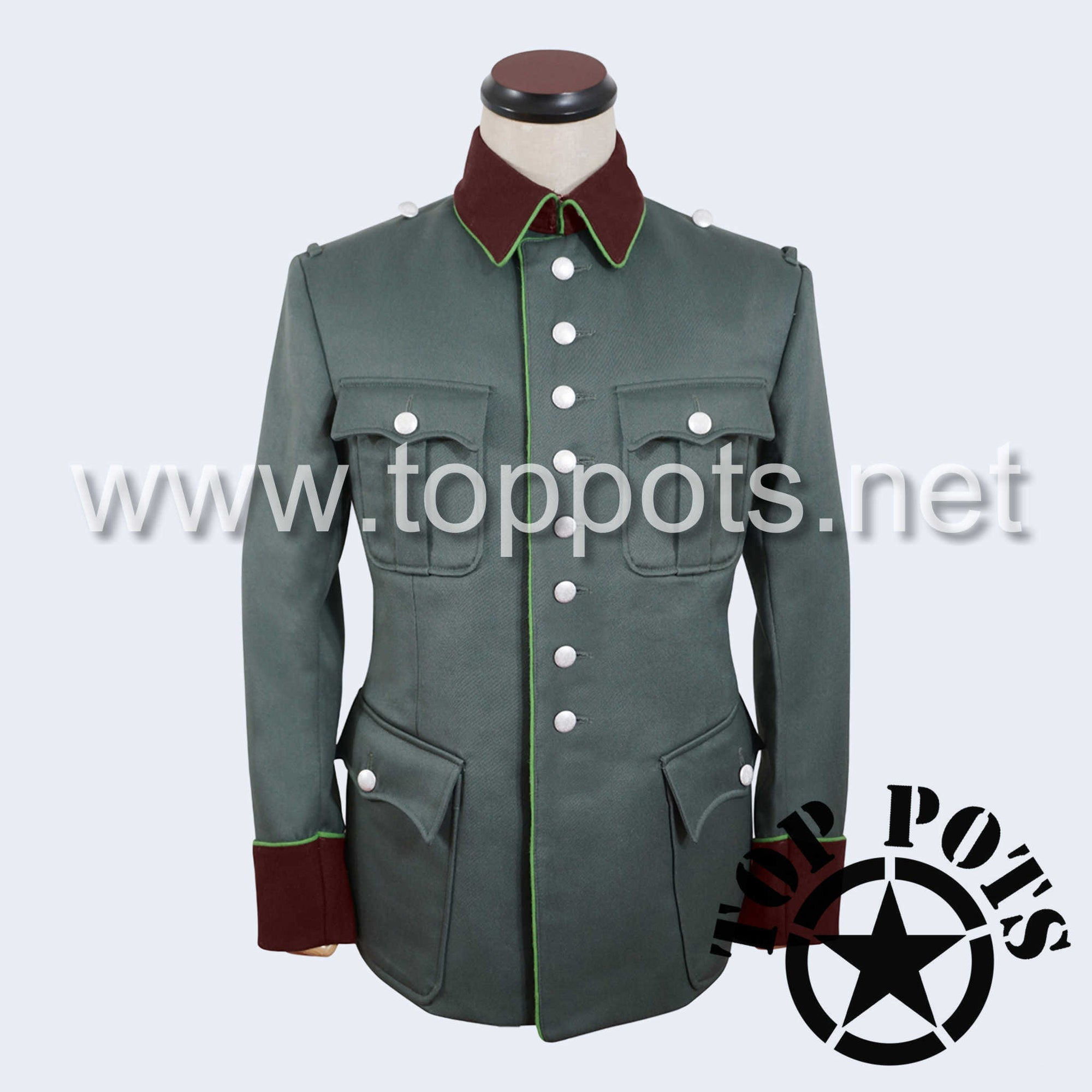 WWII German Army Heer Wehrmacht Officer Uniform Jacket Field Grey Gabardine - Ordnungspolizei Police Tunic (8 Buttons)