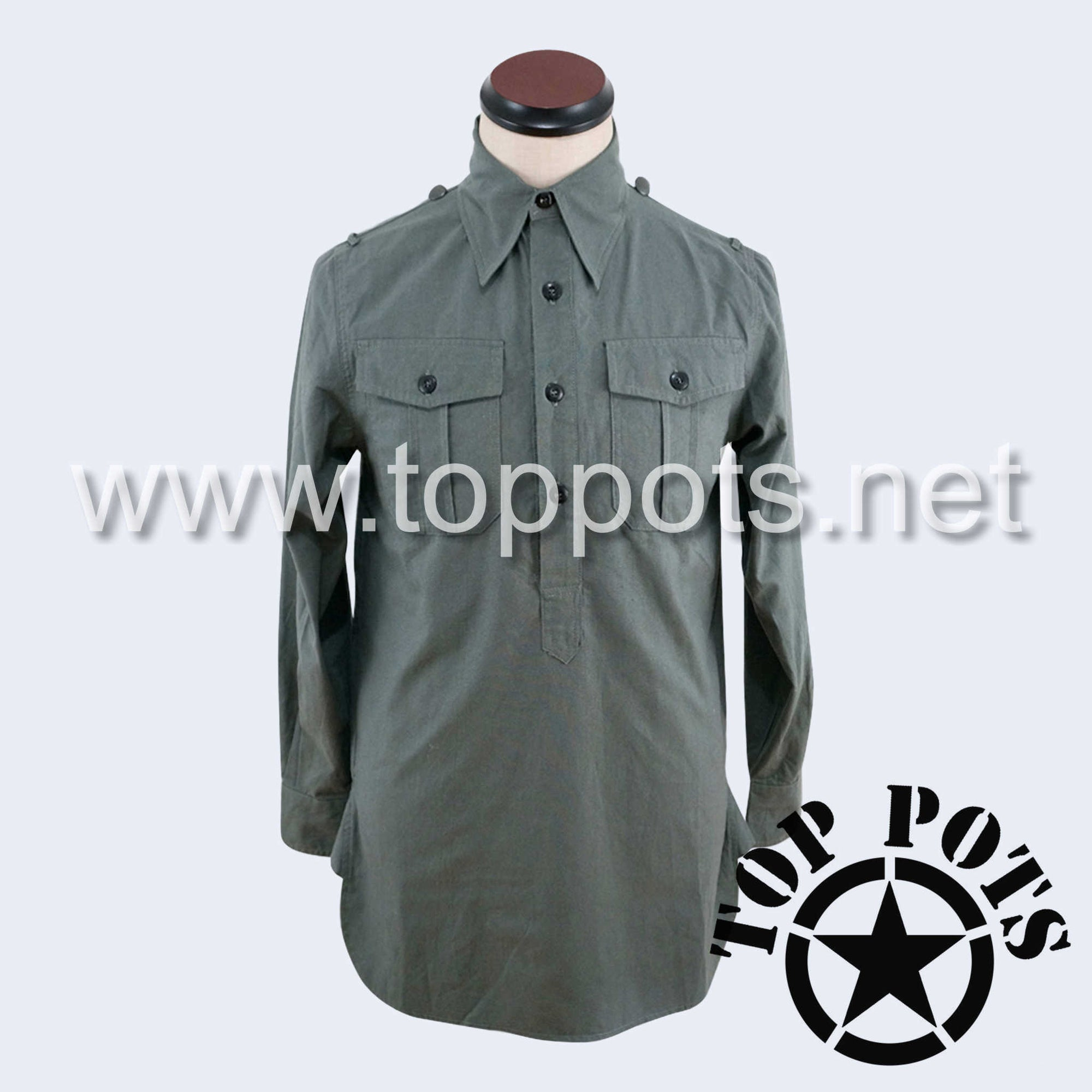 WWII German Army Waffen SS Uniform Long Sleeve Service Shirt - Grey
