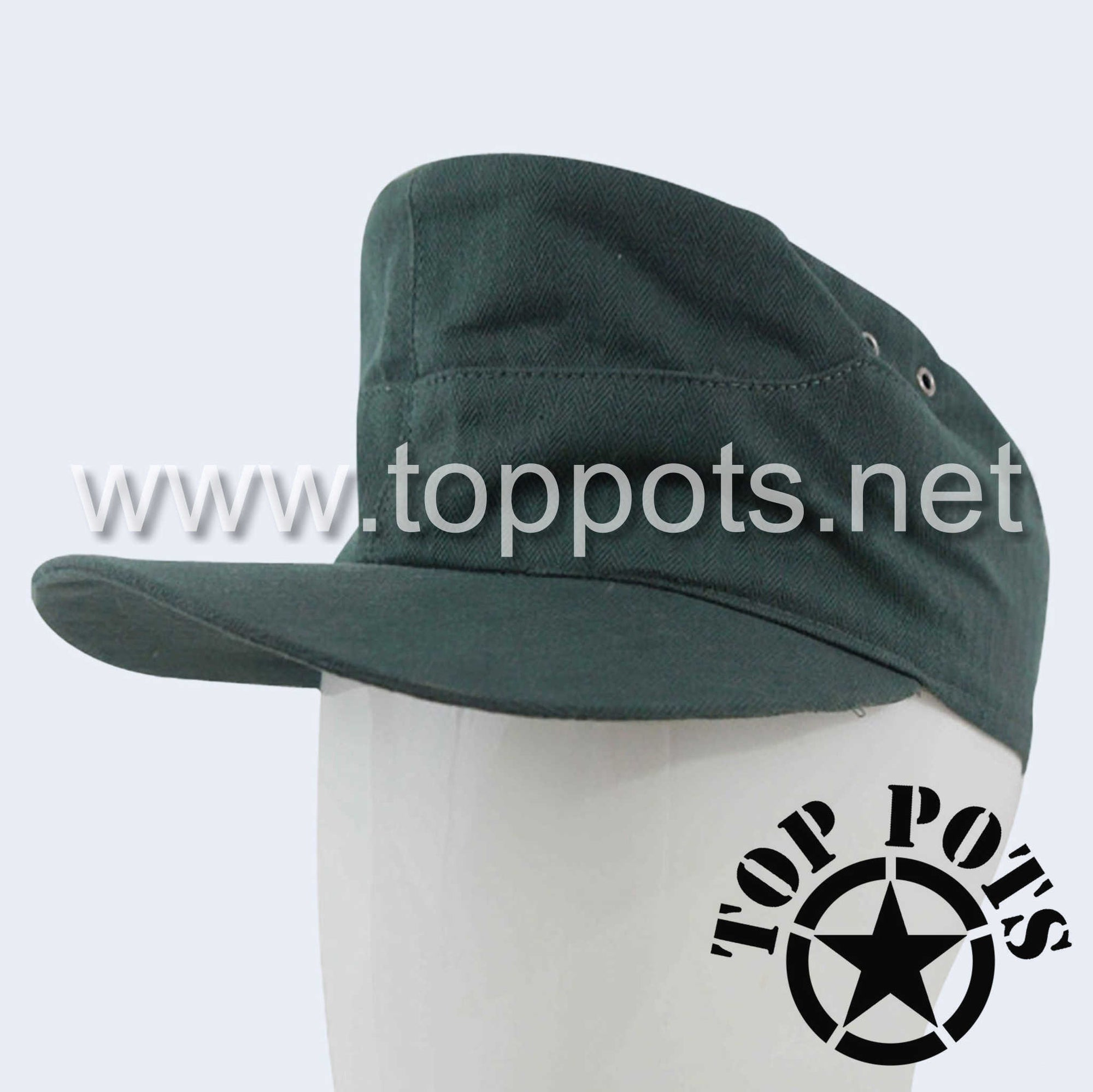 WWII German Army Waffen SS Panzer Uniform Summer HBT Cotton Field Cap Reed Green - Enlisted