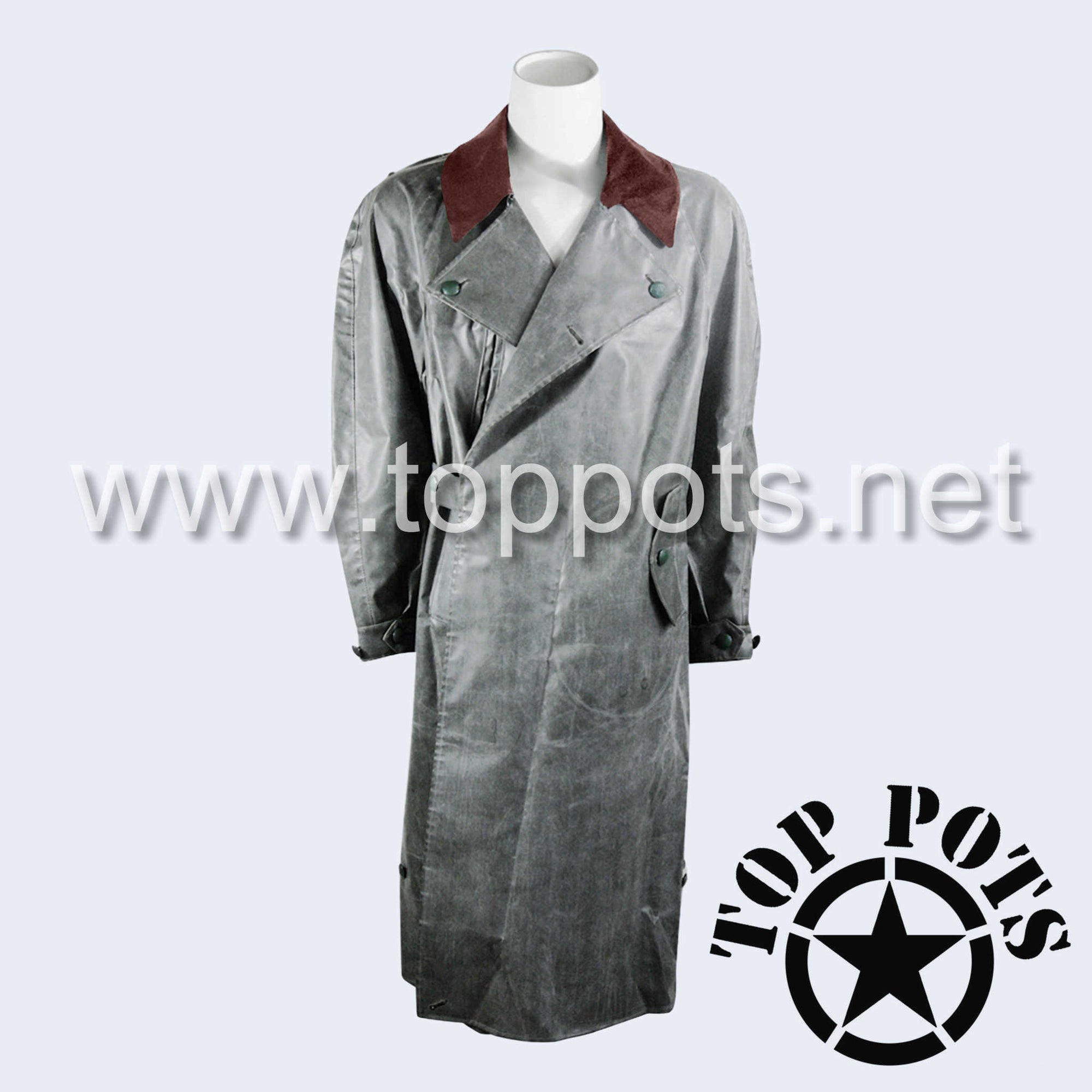 WWII German Army Waffen SS Uniform Motorcycle Rubberized Raincoat Overcoat Jacket - Field Police