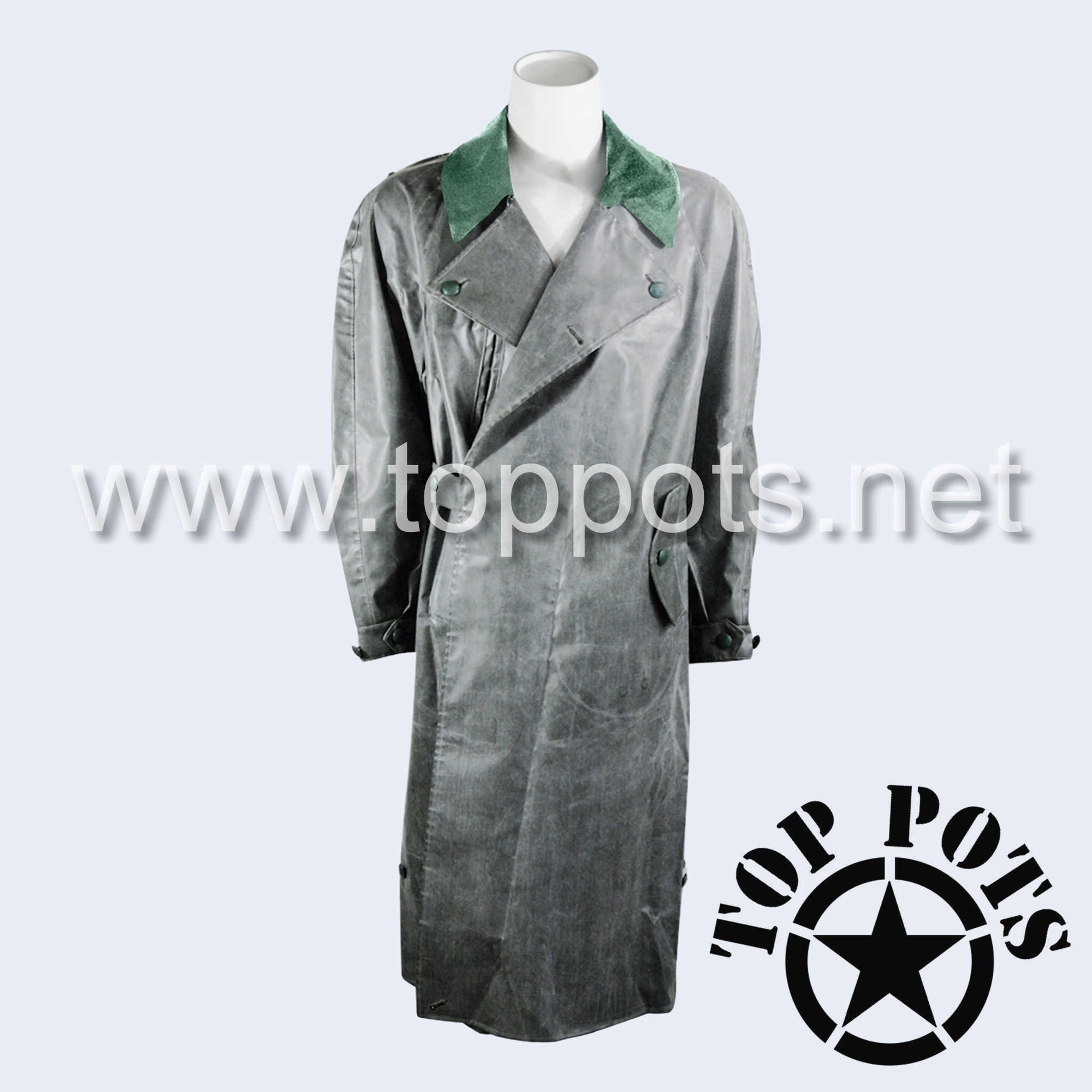 WWII German Army Waffen SS Uniform Motorcycle Rubberized Raincoat Overcoat Jacket - Late War