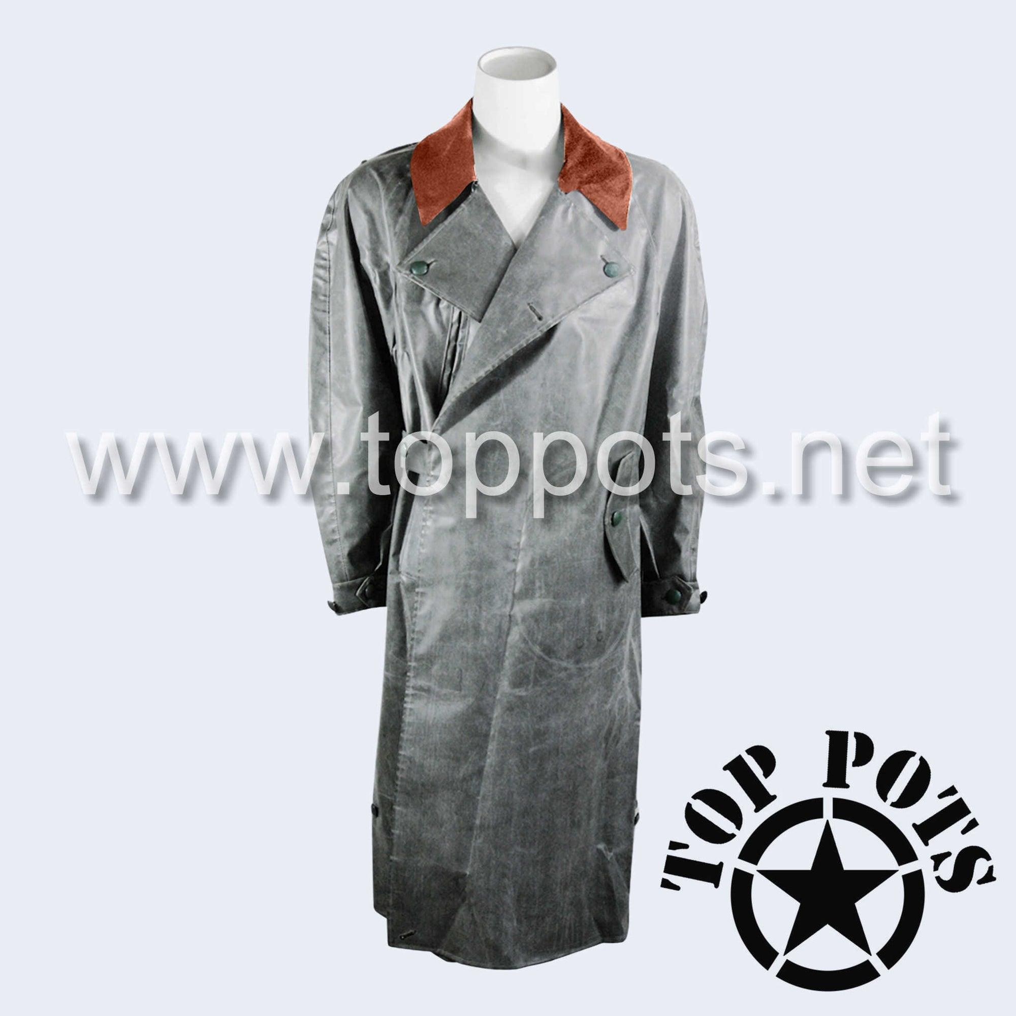 WWII German Army Waffen SS Uniform Motorcycle Rubberized Raincoat Overcoat Jacket - Ordnungspolizei