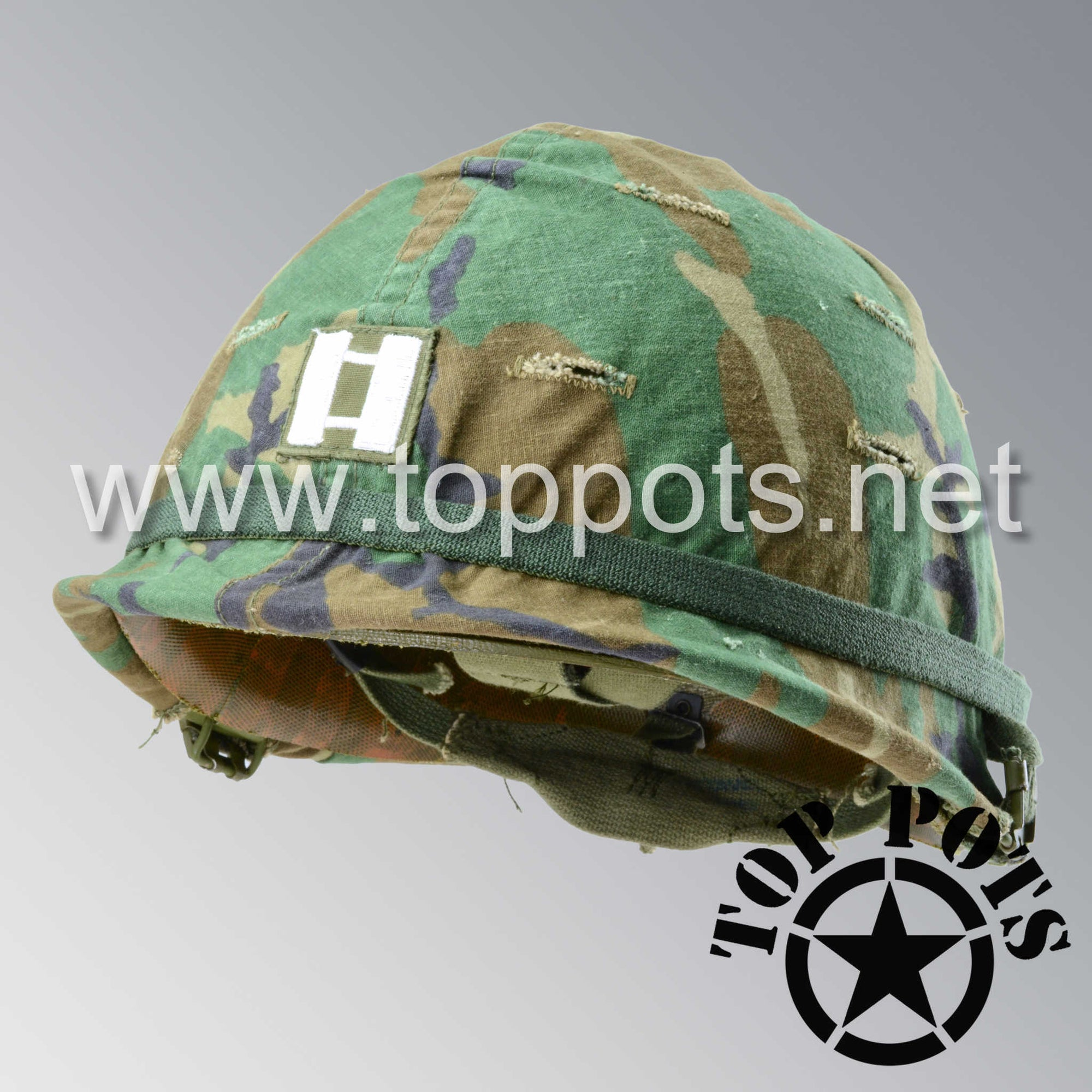 Image 1 of Post Vietnam US Army Original M1 Infantry Helmet Swivel Bale Shell and Liner with ERDL Woodland Camouflage Cover