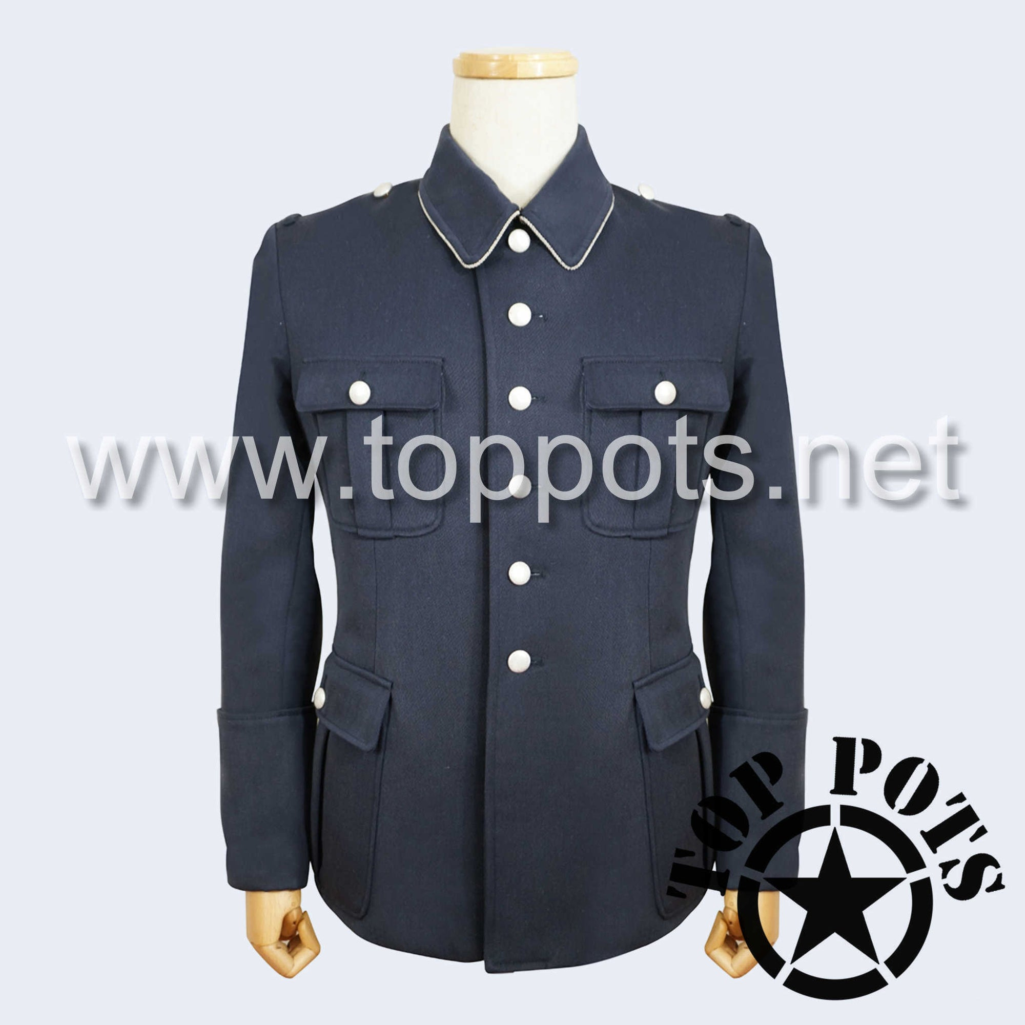 WWII German Luftwaffe M1936 Officer Uniform Jacket Blue Grey Gabardine Tunic (Silver Collar Piping)