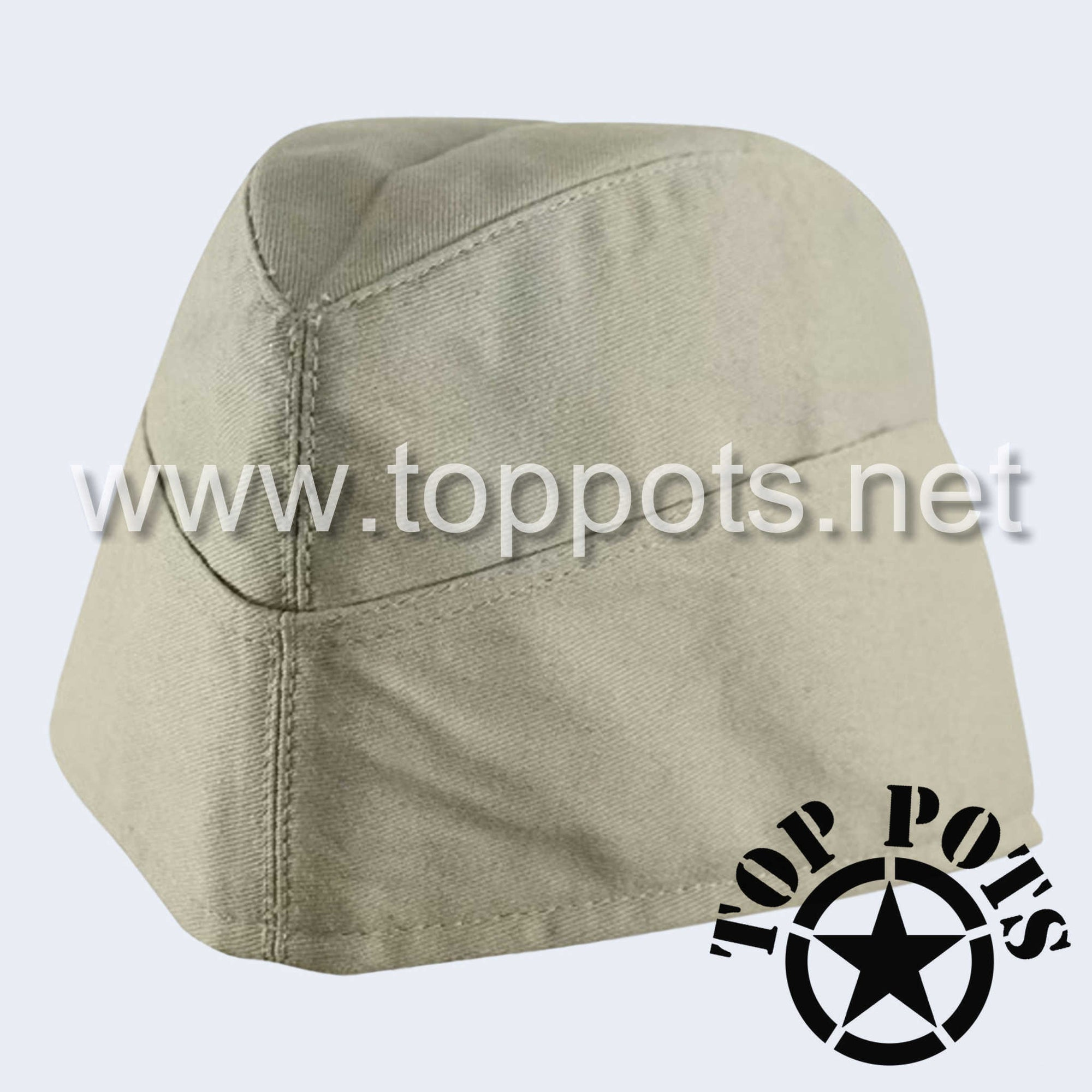 WWII German Army M1940 Heer Wehrmacht Uniform Summer HBT Cotton Overseas Side Cap Off-White - Enlisted