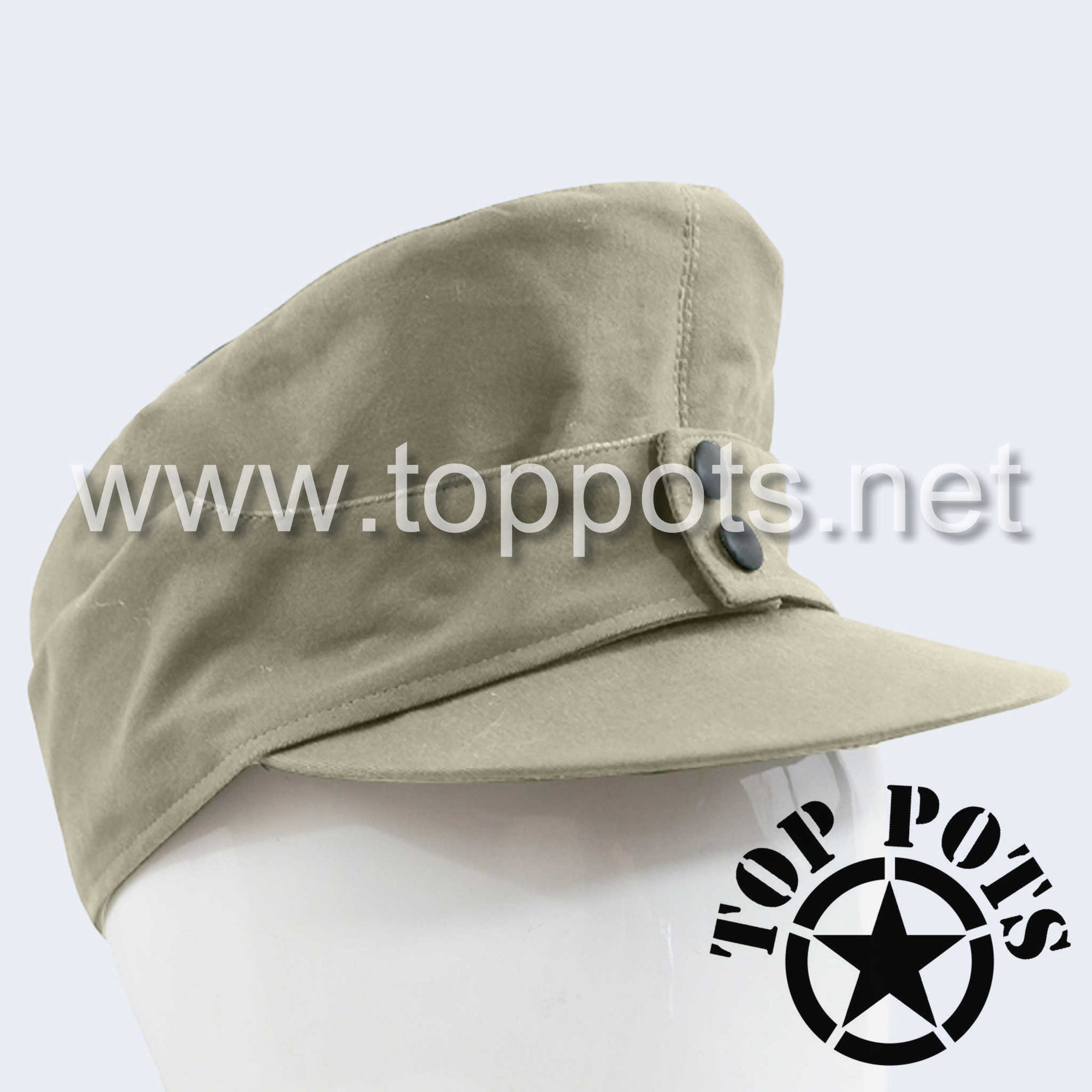 WWII German Army M1943 Heer Wehrmacht Uniform Summer HBT Cotton Field Cap Off-White - Enlisted