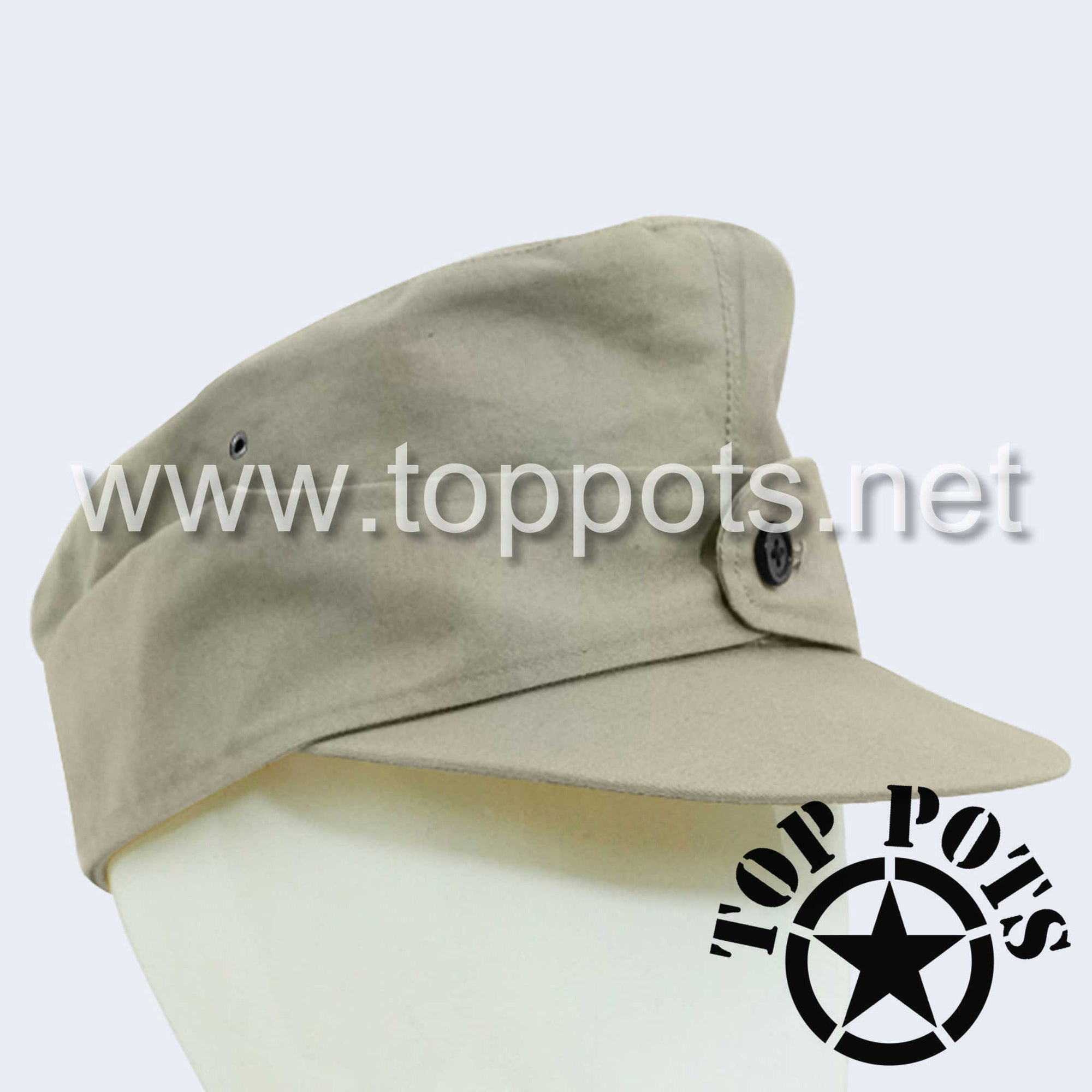 WWII German Army M1944 Heer Wehrmacht Uniform Summer HBT Cotton Field Cap Off-White - Enlisted