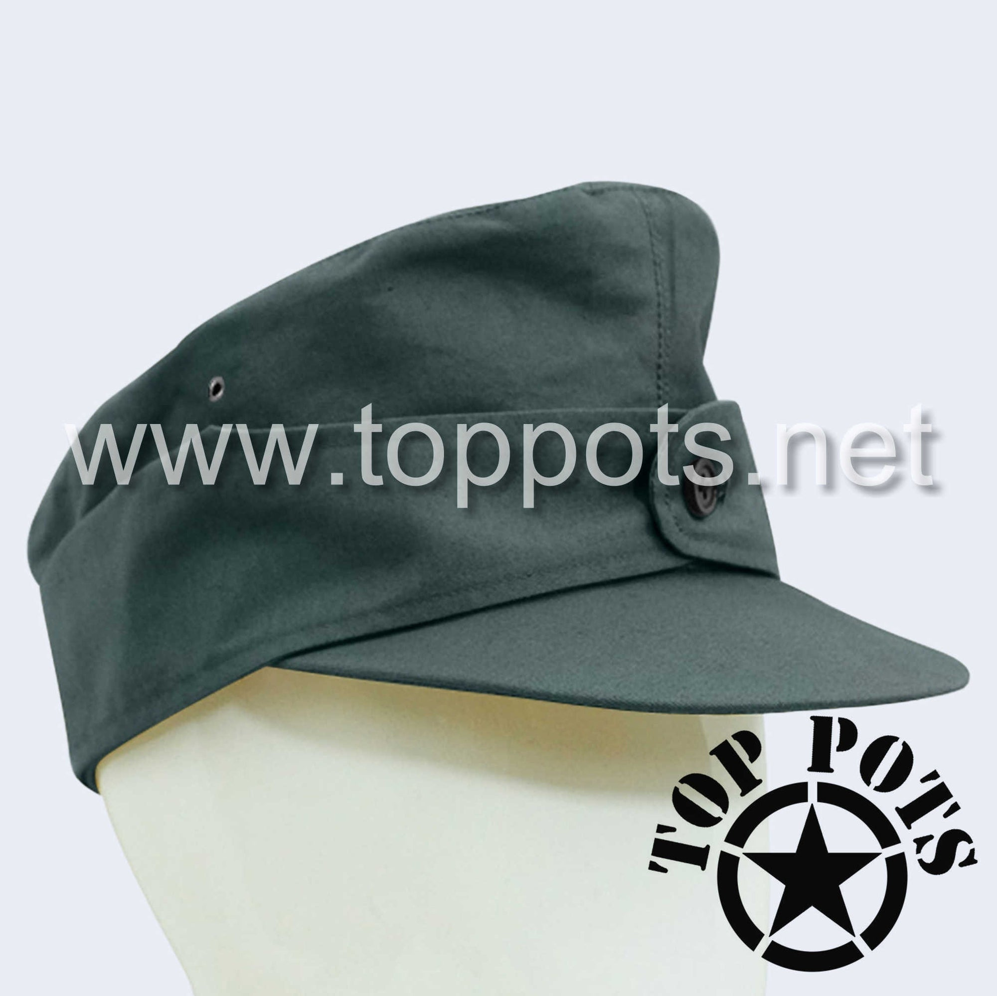 WWII German Army M1944 Heer Wehrmacht Uniform Summer HBT Cotton Field Cap Reed Green - Enlisted