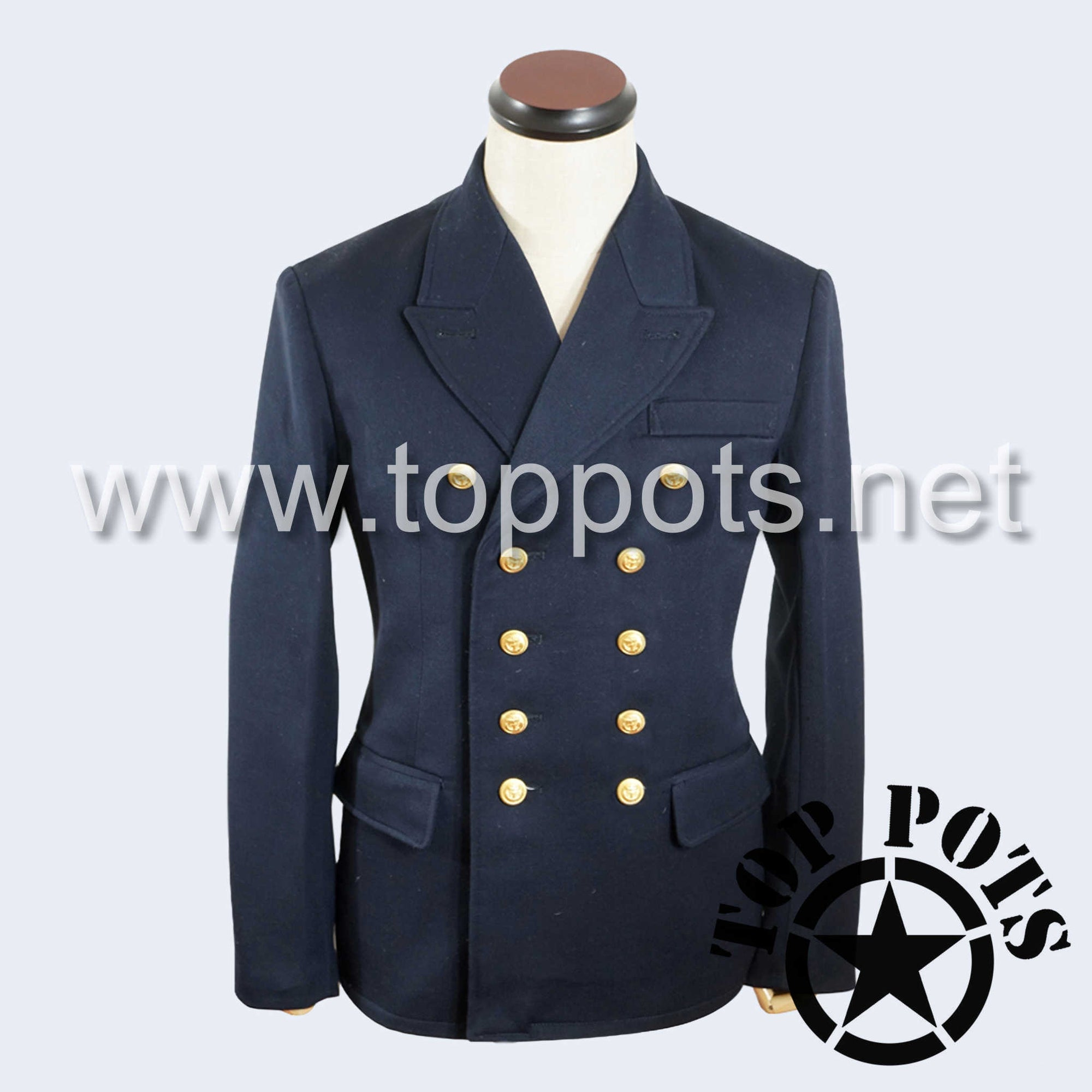 WWII German Navy Kriegsmarine Officer Uniform Jacket Pea Coat Navy Blue Gabardine - Officer Tunic