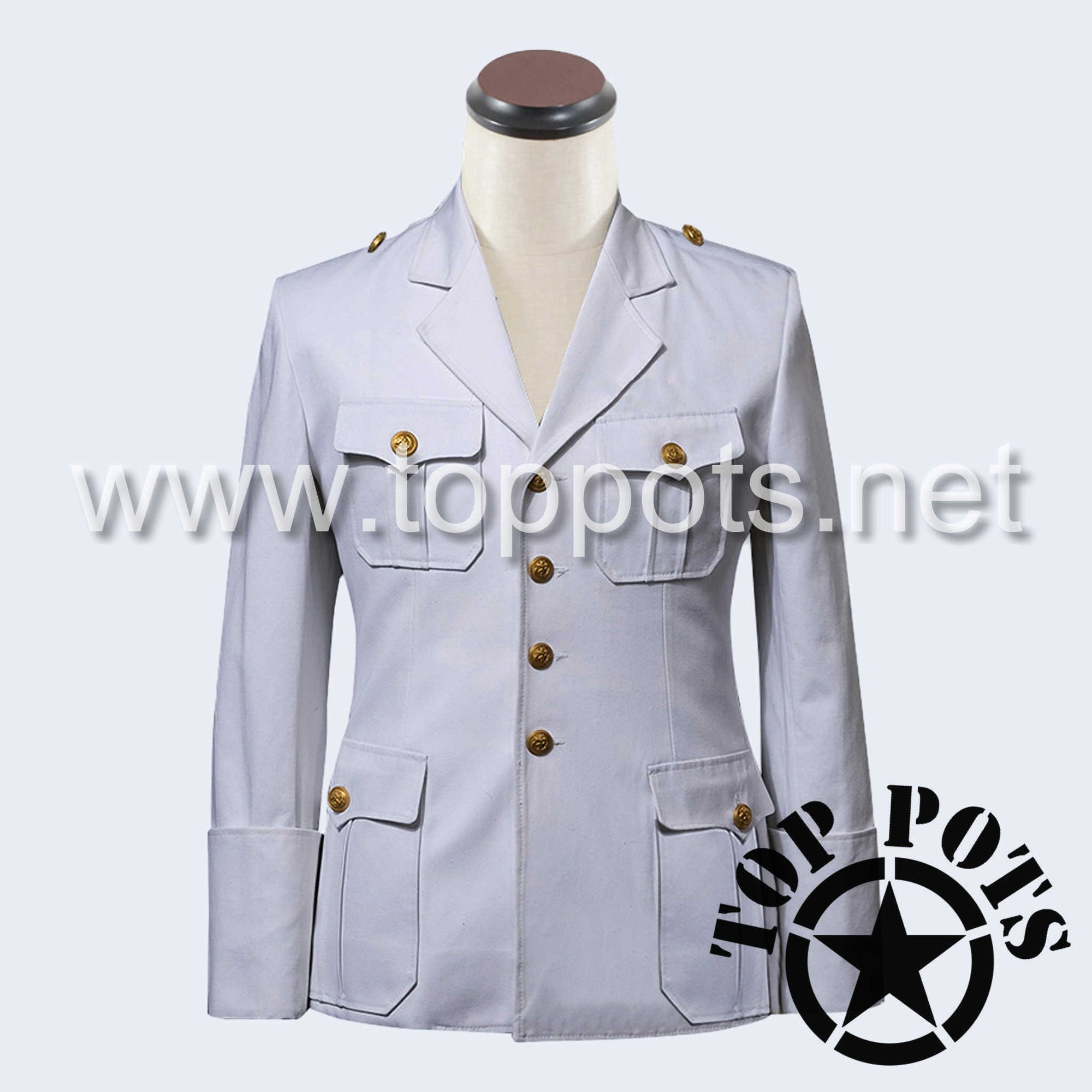 WWII German Navy Kriegsmarine Summer Uniform Jacket White Cotton - Officer's Tunic (Single Breasted)