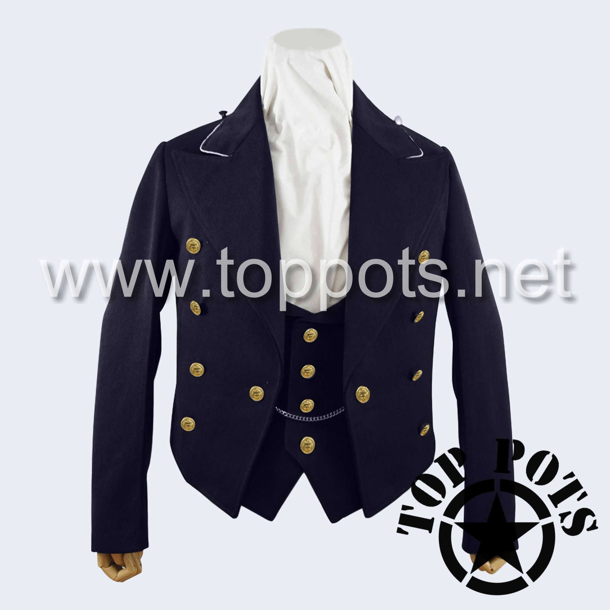 WWII German Navy Kriegsmarine Admiral Uniform Jacket Ceremonial Formal Dress Tuxedo with Vest Navy Blue Gabardine - 8 Button Front Tunic with Piping