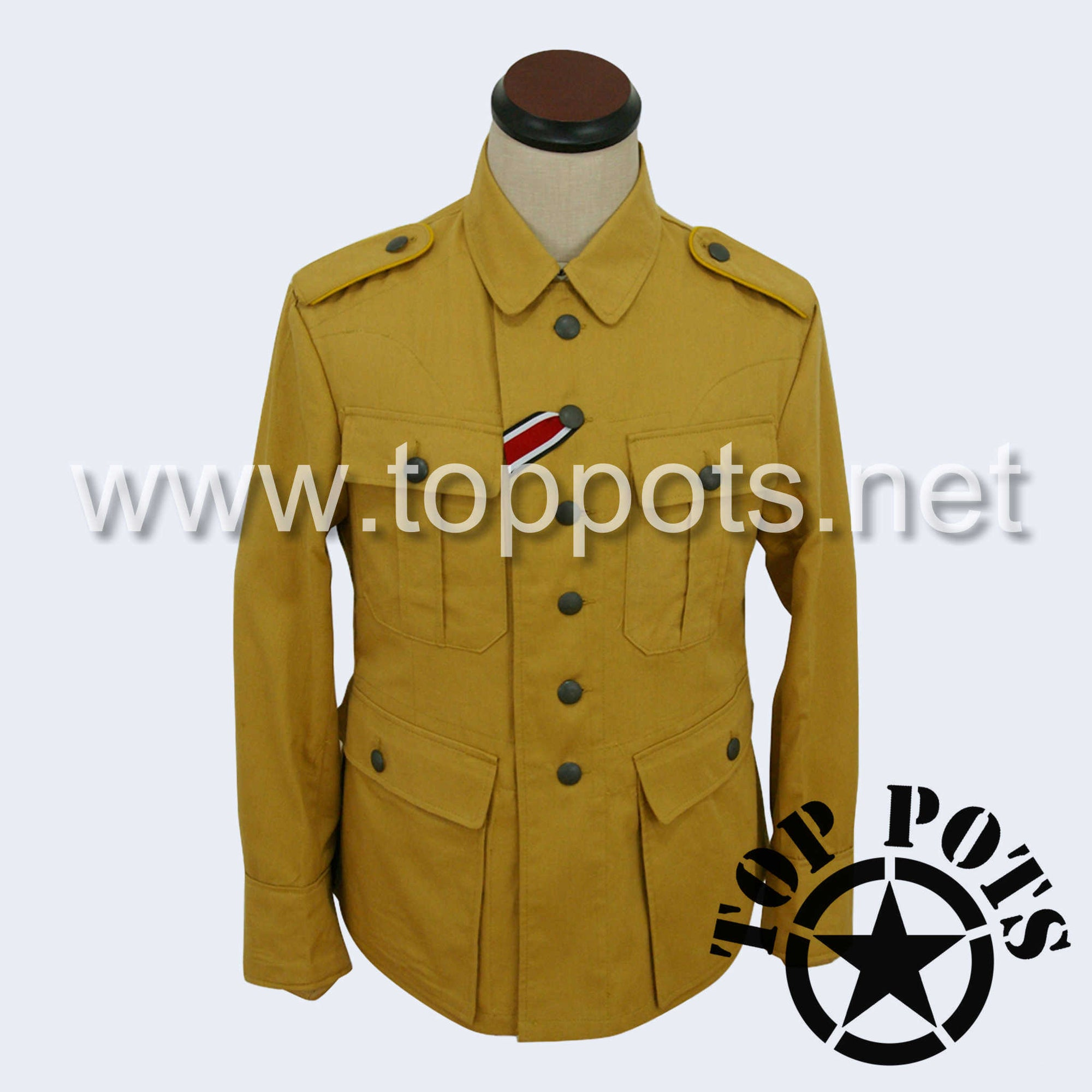 WWII German Luftwaffe M1941 DAK Afrika Korps HBT Tropical Enlisted Uniform Jacket - Sand Khaki