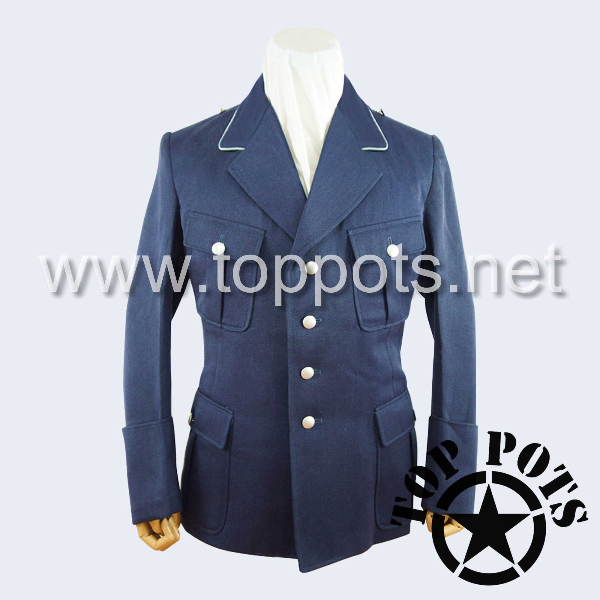 WWII German Luftwaffe M1935 Officer Uniform Jacket Blue Grey Gabardine Tunic (Flat Pocket Flaps)