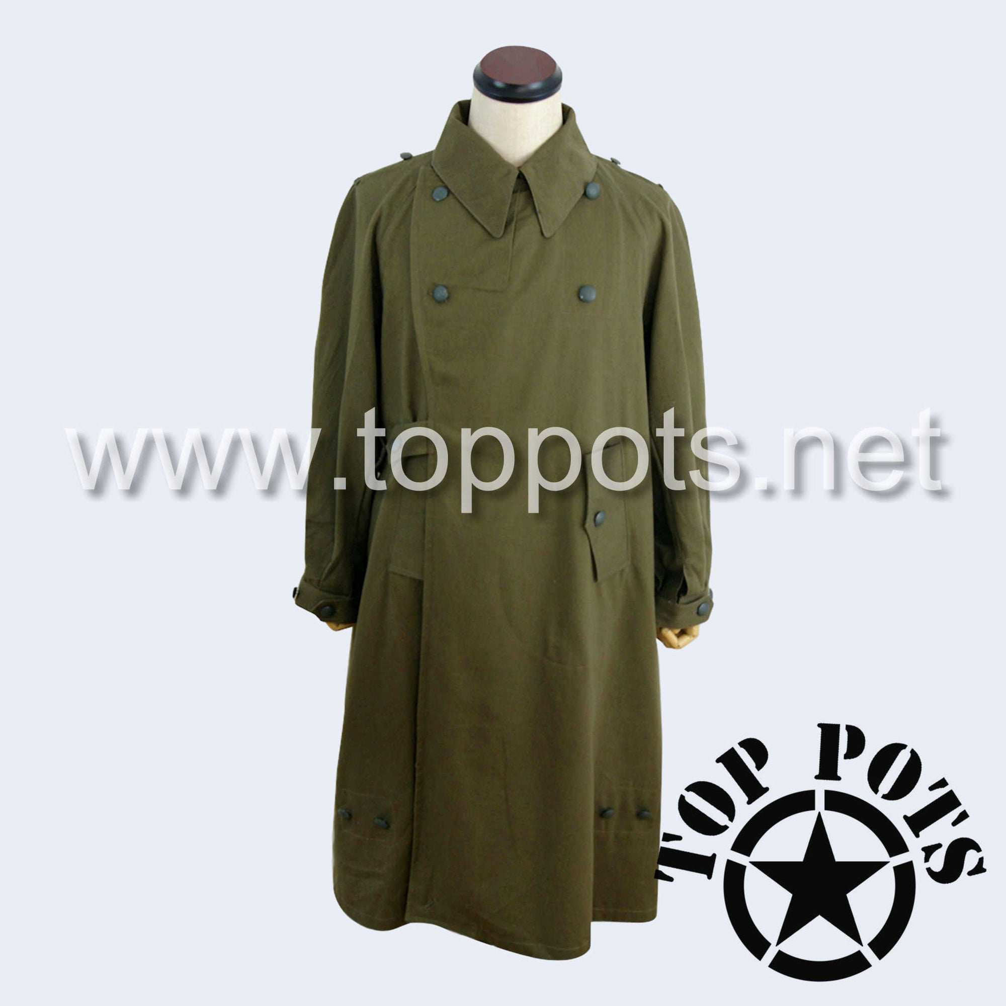 WWII German Army Waffen SS Uniform DAK Afrika Korps Tropical Motorcycle Overcoat Jacket - Olive Brown