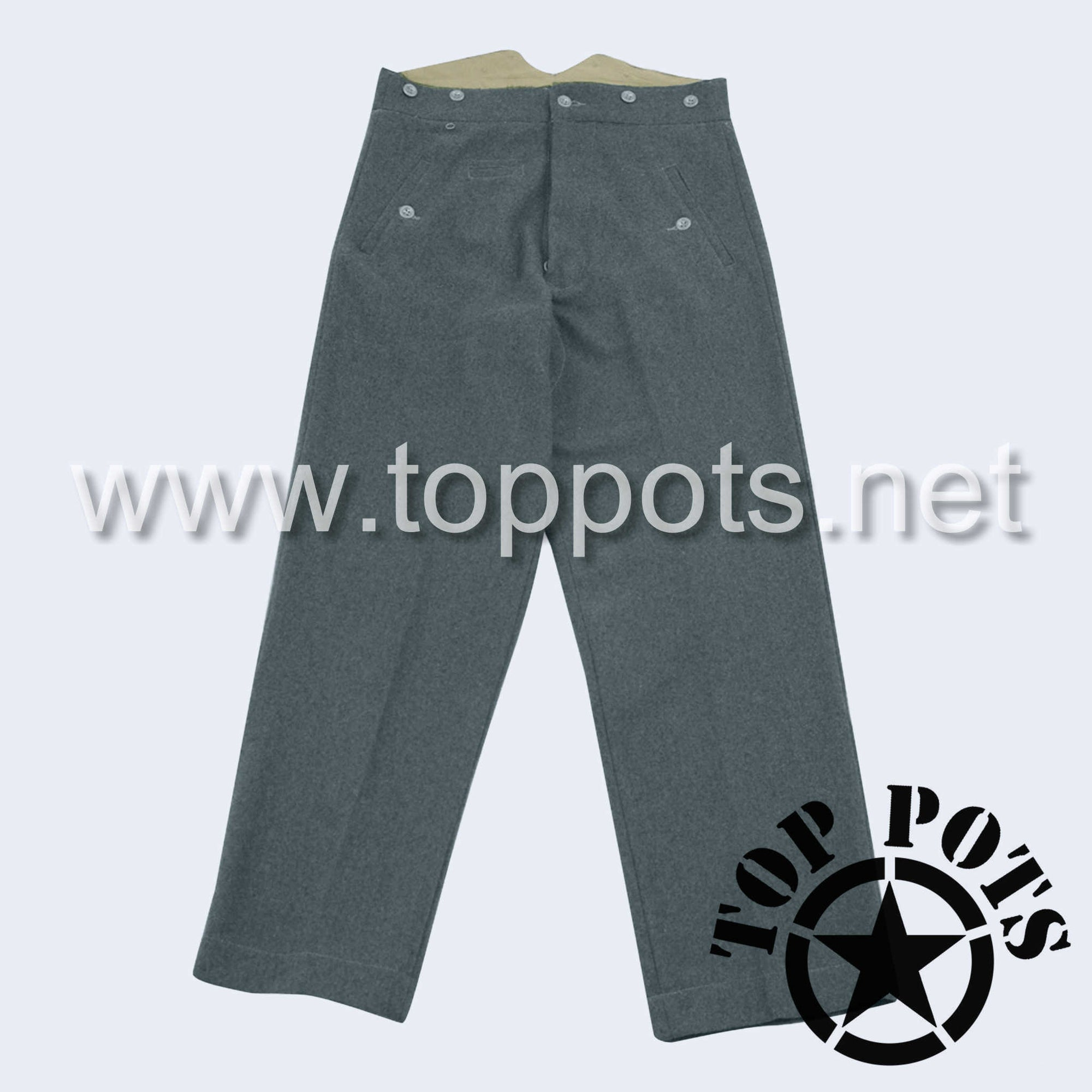 WWII German Army M1940 Waffen SS Uniform Enlisted Trouser Pants Blue-Green Grey Italian Wool