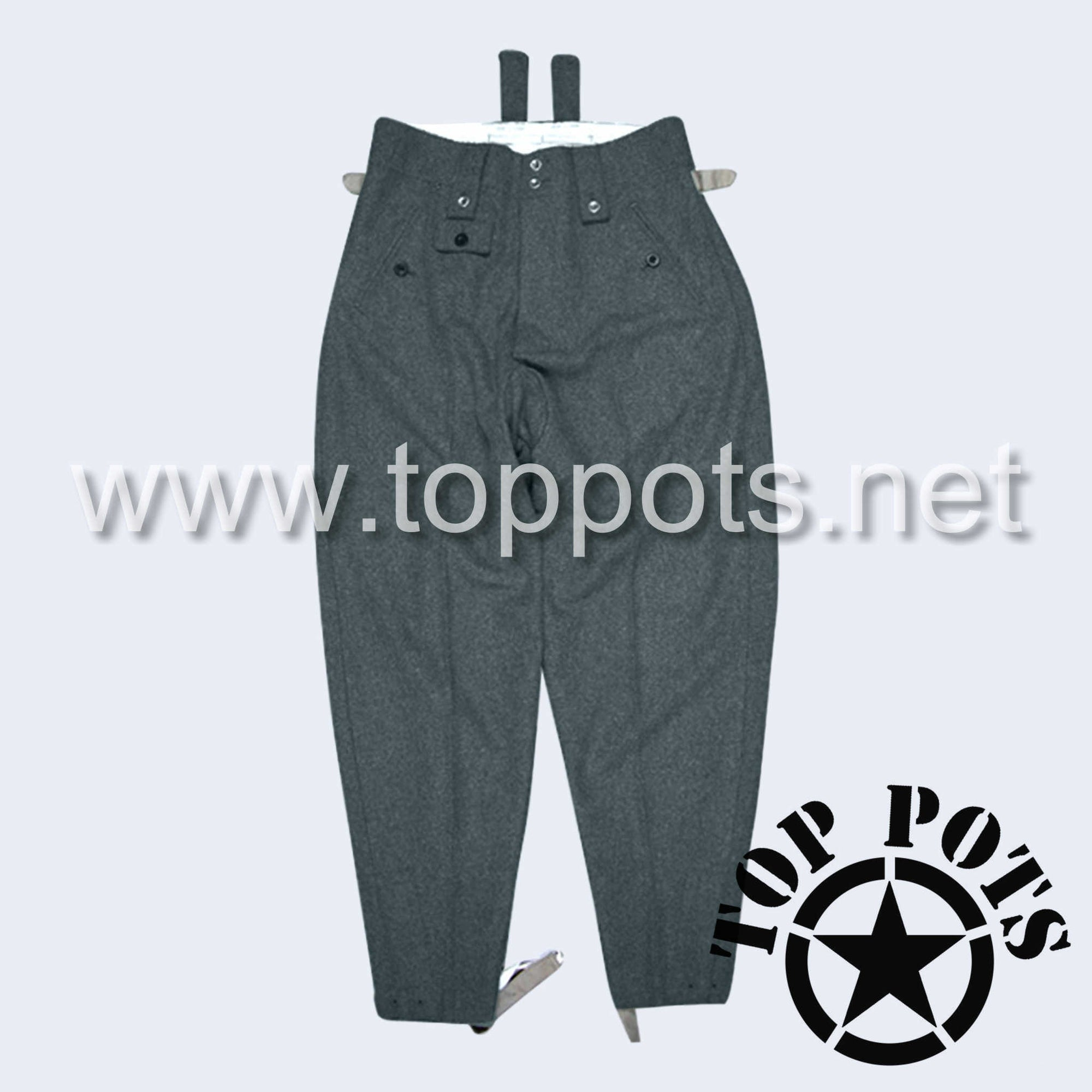 WWII German Army M1943 Waffen SS Uniform Enlisted Trouser Pants Blue-Green Grey Italian Wool (Keilhosen)