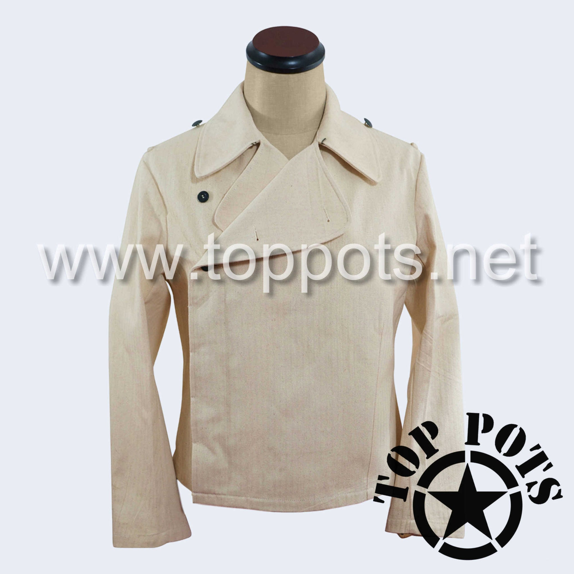 WWII German Army Waffen SS Uniform Panzer Wrap Jacket Off-White Summer HBT - Enlisted