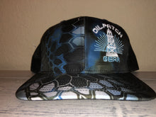 Load image into Gallery viewer, OPG CAP LG2 - CAMO BLACK BLUE WHITE BLACK MESH WITH BLUE WHITE LOGO