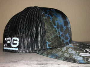 OPG CAP LG2 - CAMO BLACK BLUE WHITE BLACK MESH WITH BLUE WHITE LOGO