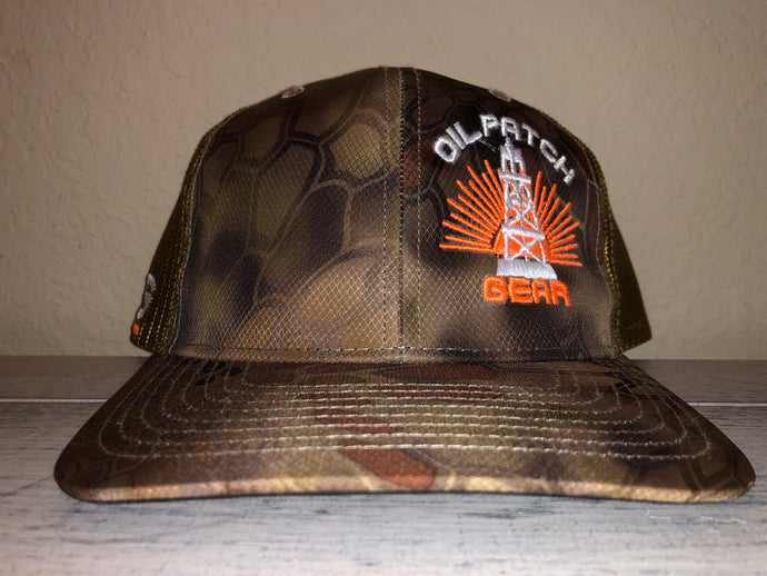 OPG CAP LG2 - CAMO BROWN TAN MESH WITH NEON ORANGE WHITE LOGO