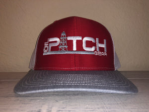 OPG CAP LG1 - RED WITH GREY RIM WHITE MESH WITH GREY AND WHITE LOGO